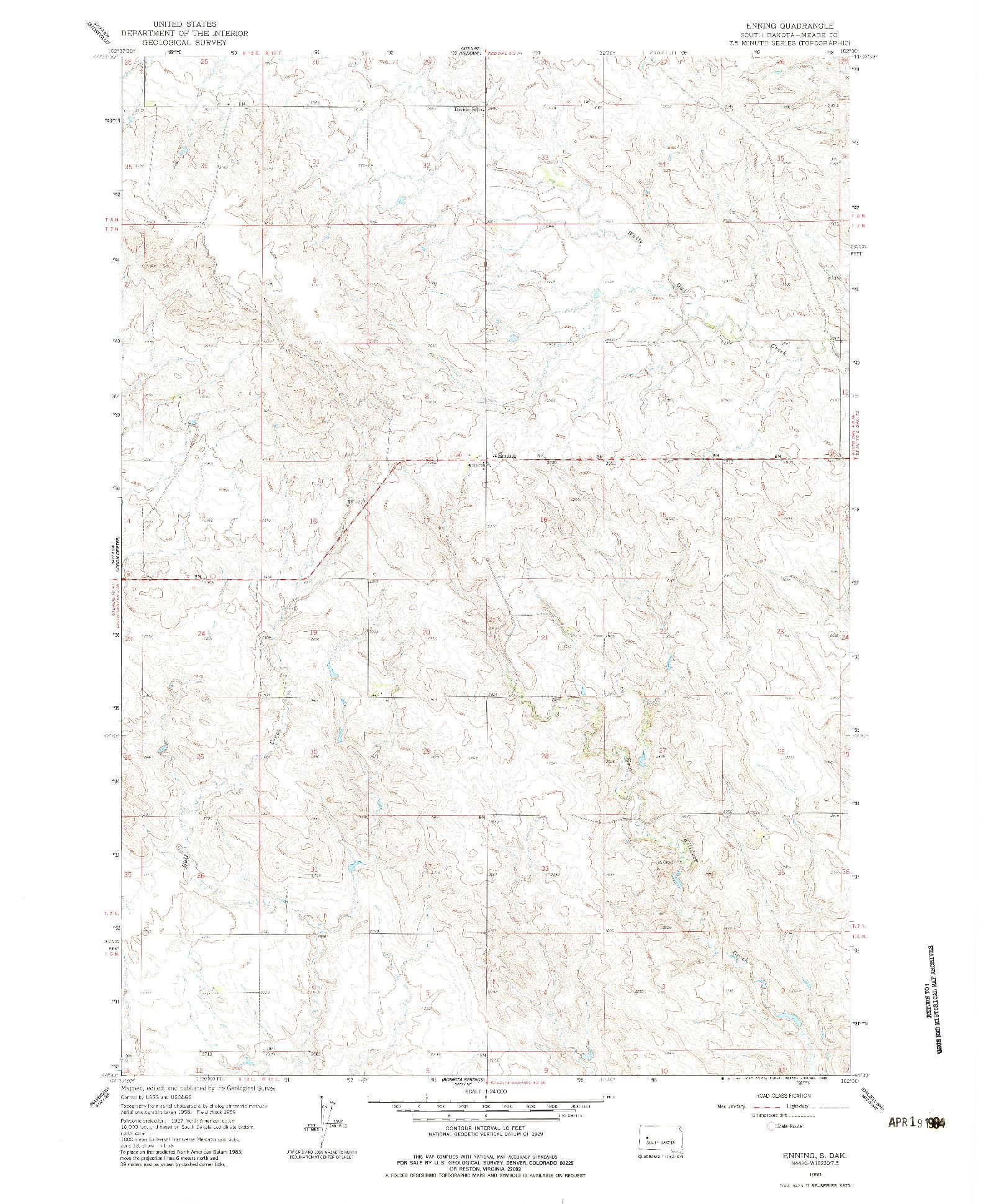 USGS 1:24000-SCALE QUADRANGLE FOR ENNING, SD 1959