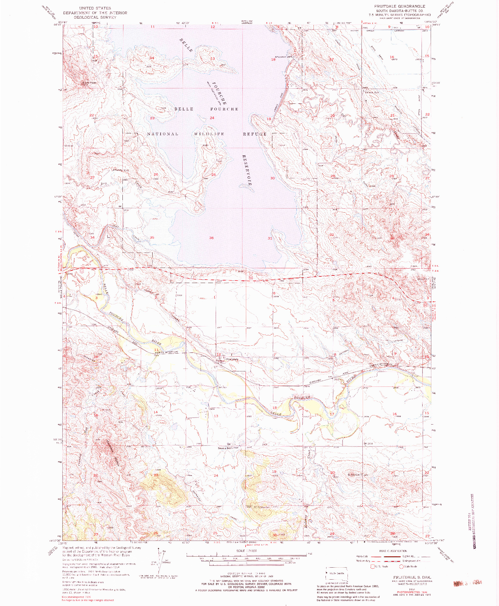 USGS 1:24000-SCALE QUADRANGLE FOR FRUITDALE, SD 1954