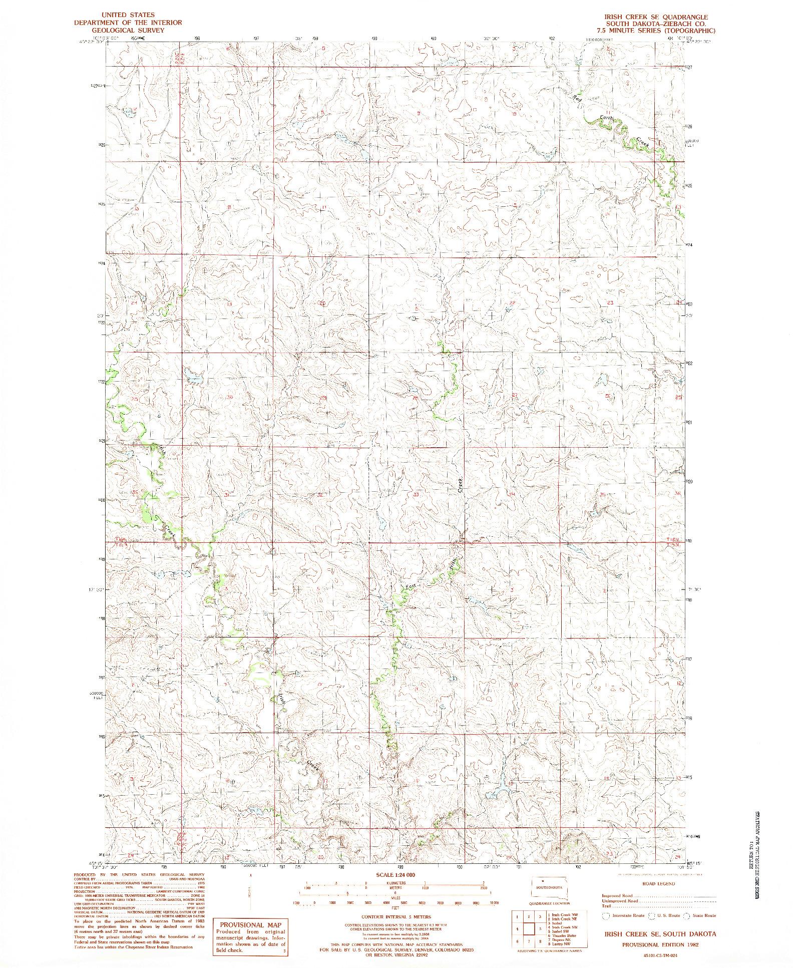 USGS 1:24000-SCALE QUADRANGLE FOR IRISH CREEK SE, SD 1982