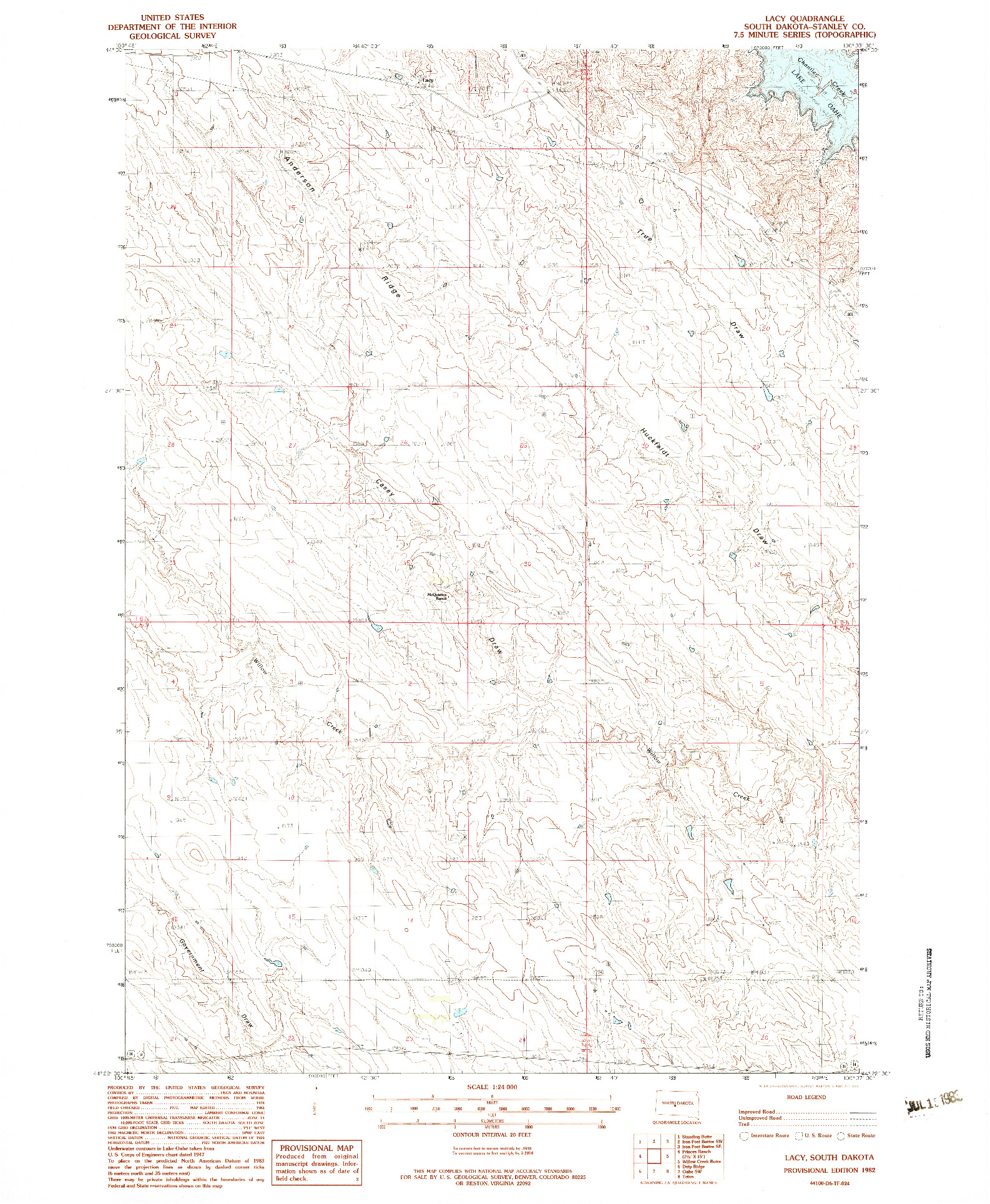 USGS 1:24000-SCALE QUADRANGLE FOR LACY, SD 1982