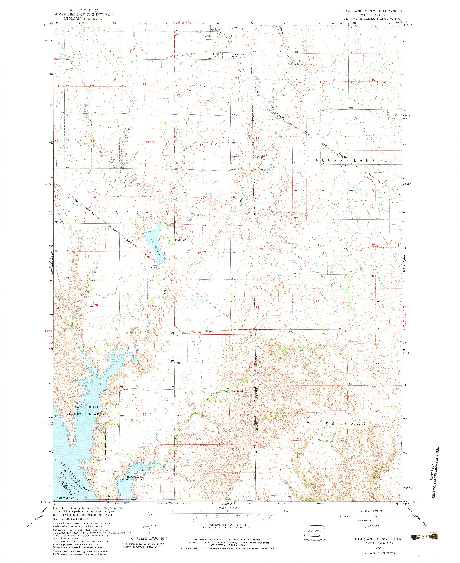 USGS 1:24000-SCALE QUADRANGLE FOR LAKE ANDES NW, SD 1964