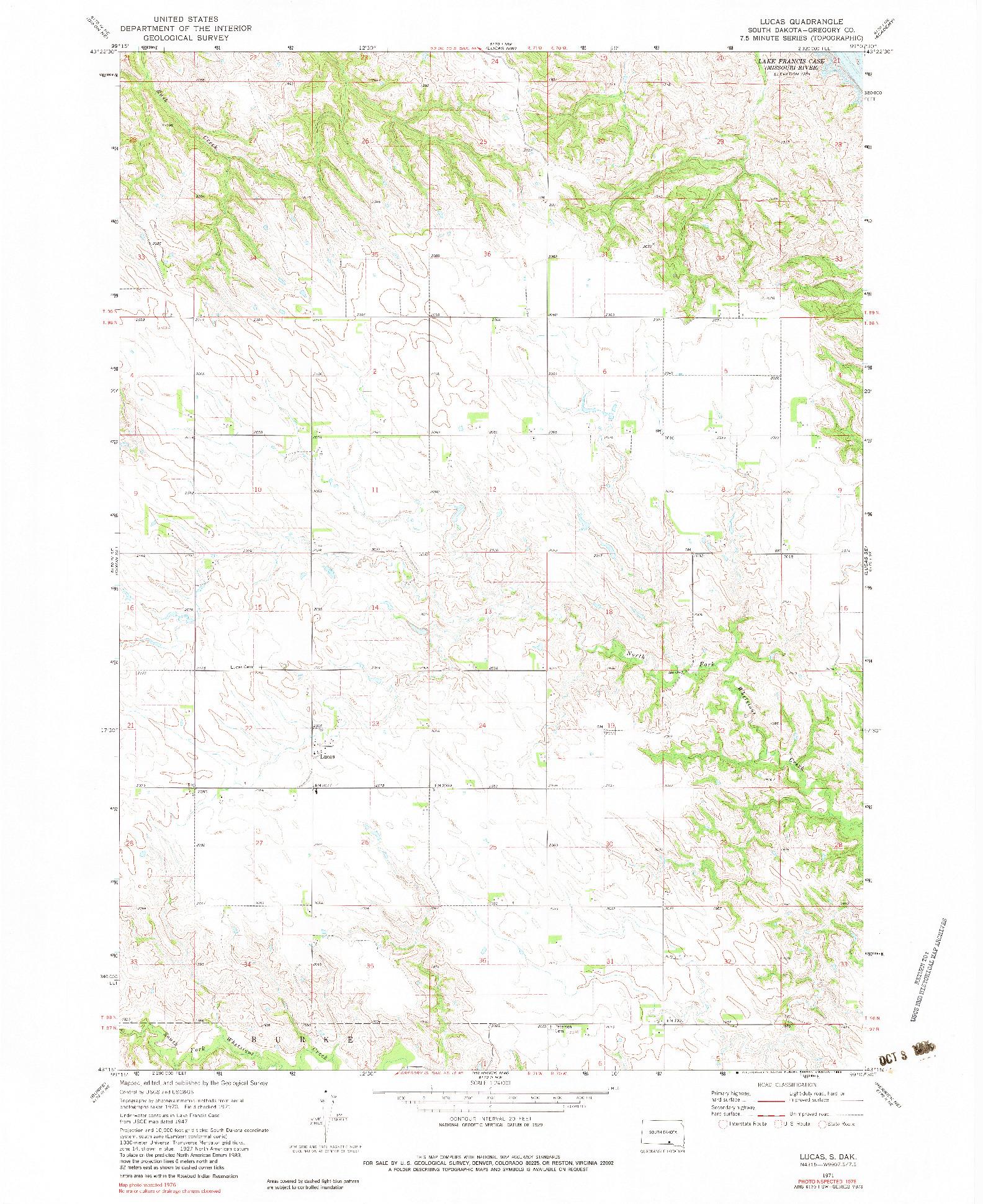 USGS 1:24000-SCALE QUADRANGLE FOR LUCAS, SD 1971