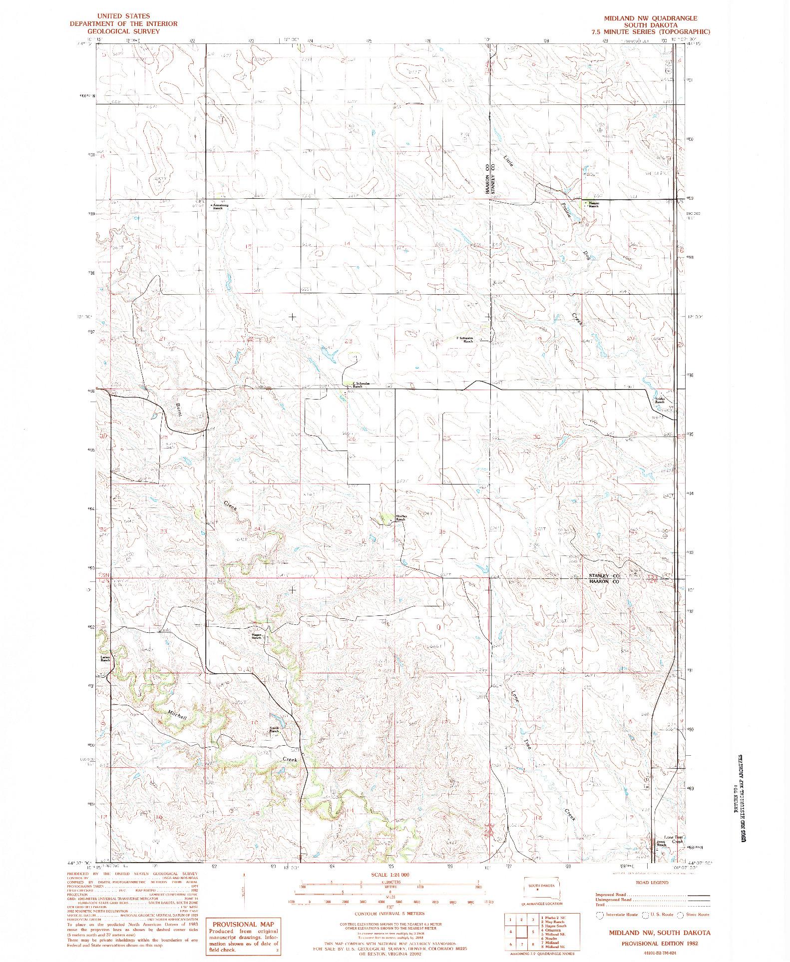 USGS 1:24000-SCALE QUADRANGLE FOR MIDLAND NW, SD 1982