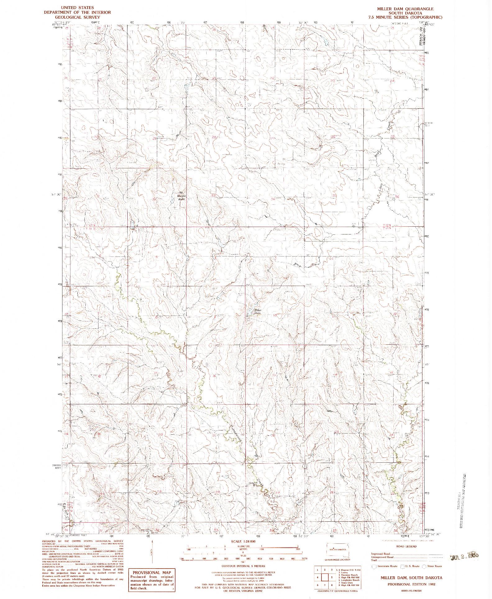 USGS 1:24000-SCALE QUADRANGLE FOR MILLER DAM, SD 1982