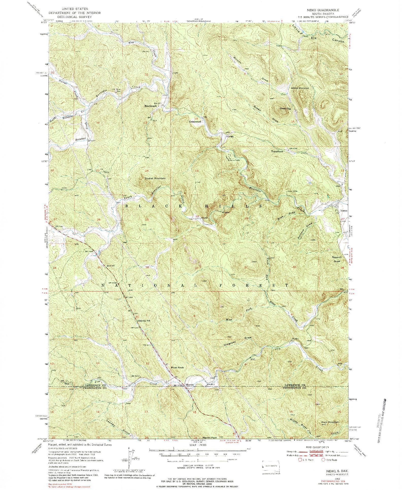 USGS 1:24000-SCALE QUADRANGLE FOR NEMO, SD 1953