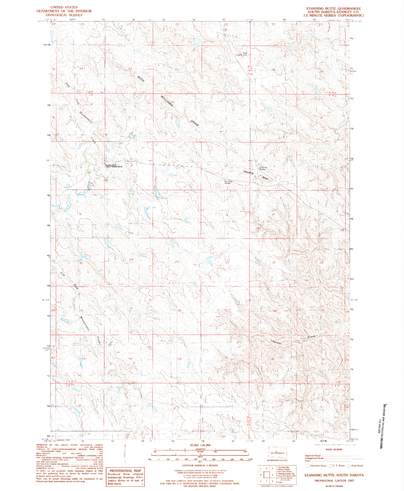 USGS 1:24000-SCALE QUADRANGLE FOR STANDING BUTTE, SD 1983