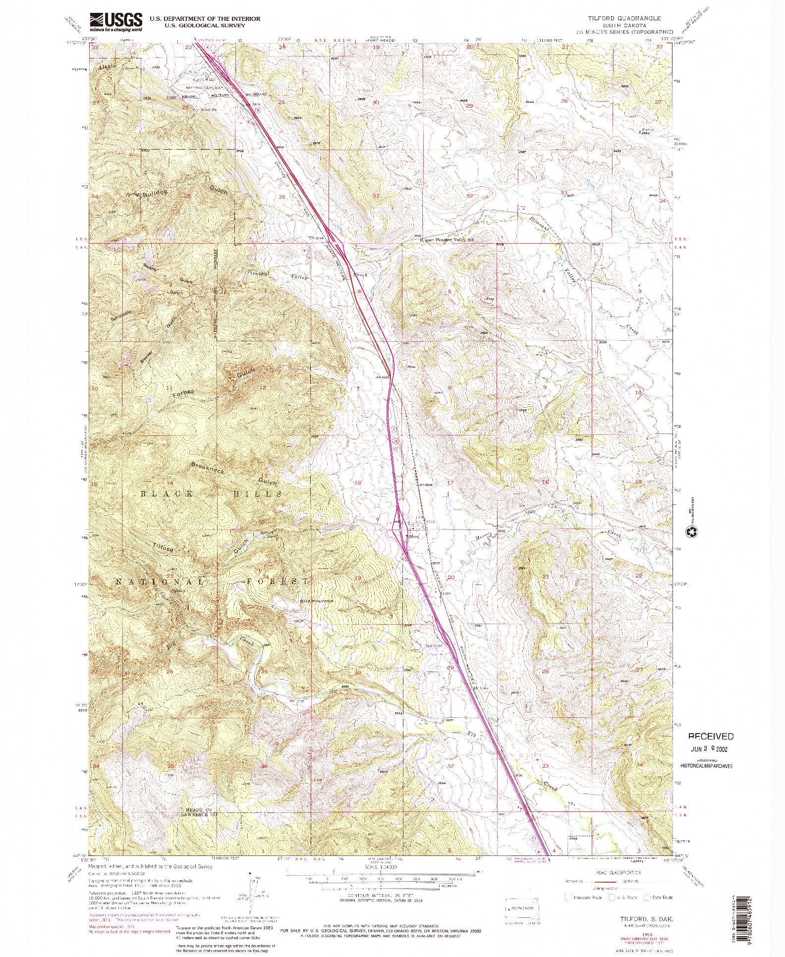USGS 1:24000-SCALE QUADRANGLE FOR TILFORD, SD 1953