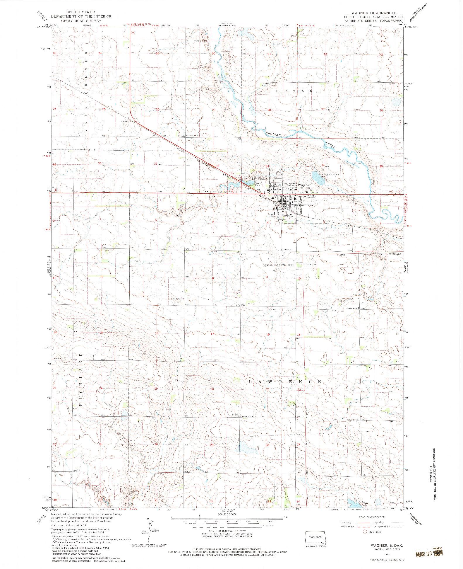 USGS 1:24000-SCALE QUADRANGLE FOR WAGNER, SD 1964