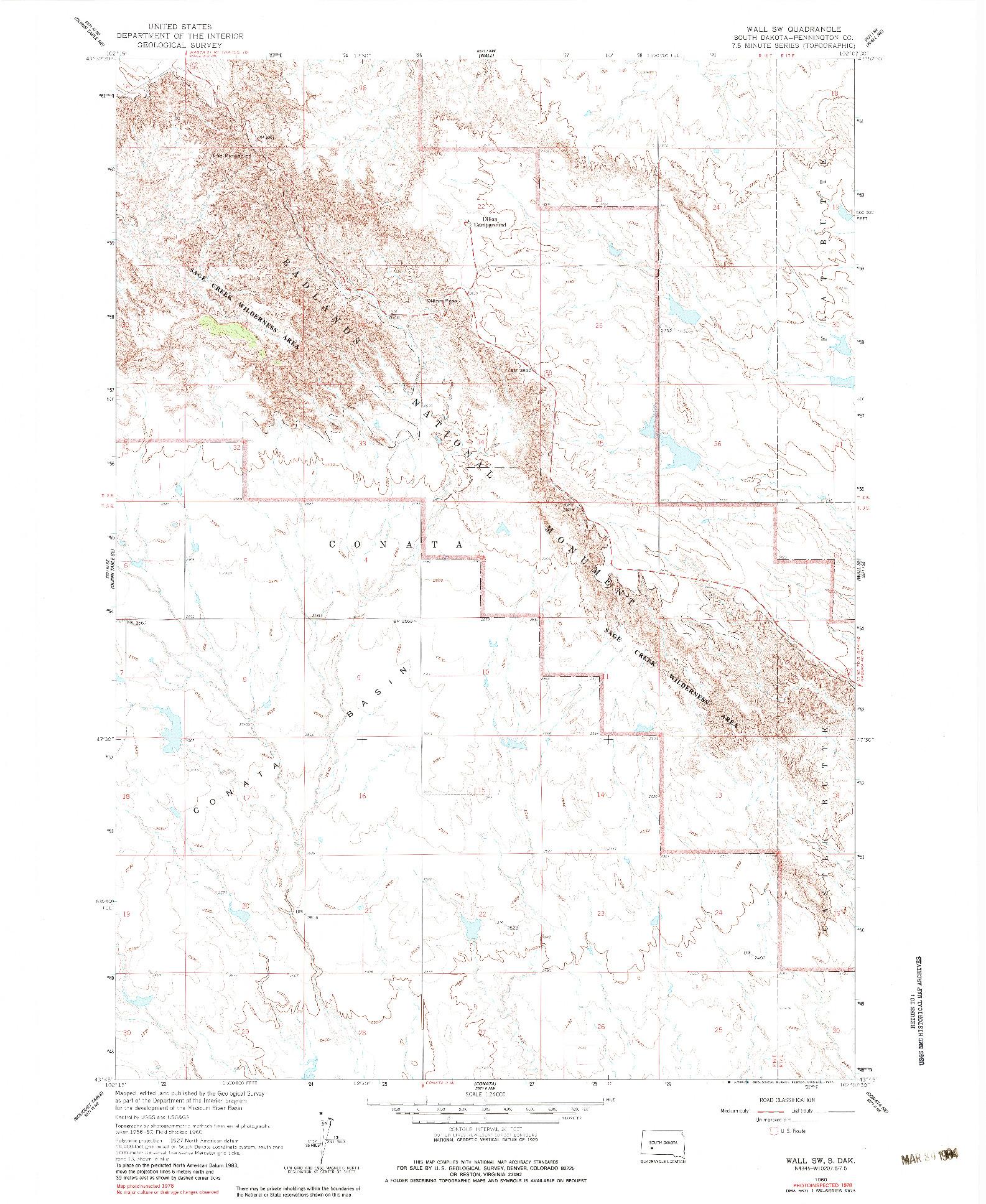 USGS 1:24000-SCALE QUADRANGLE FOR WALL SW, SD 1960