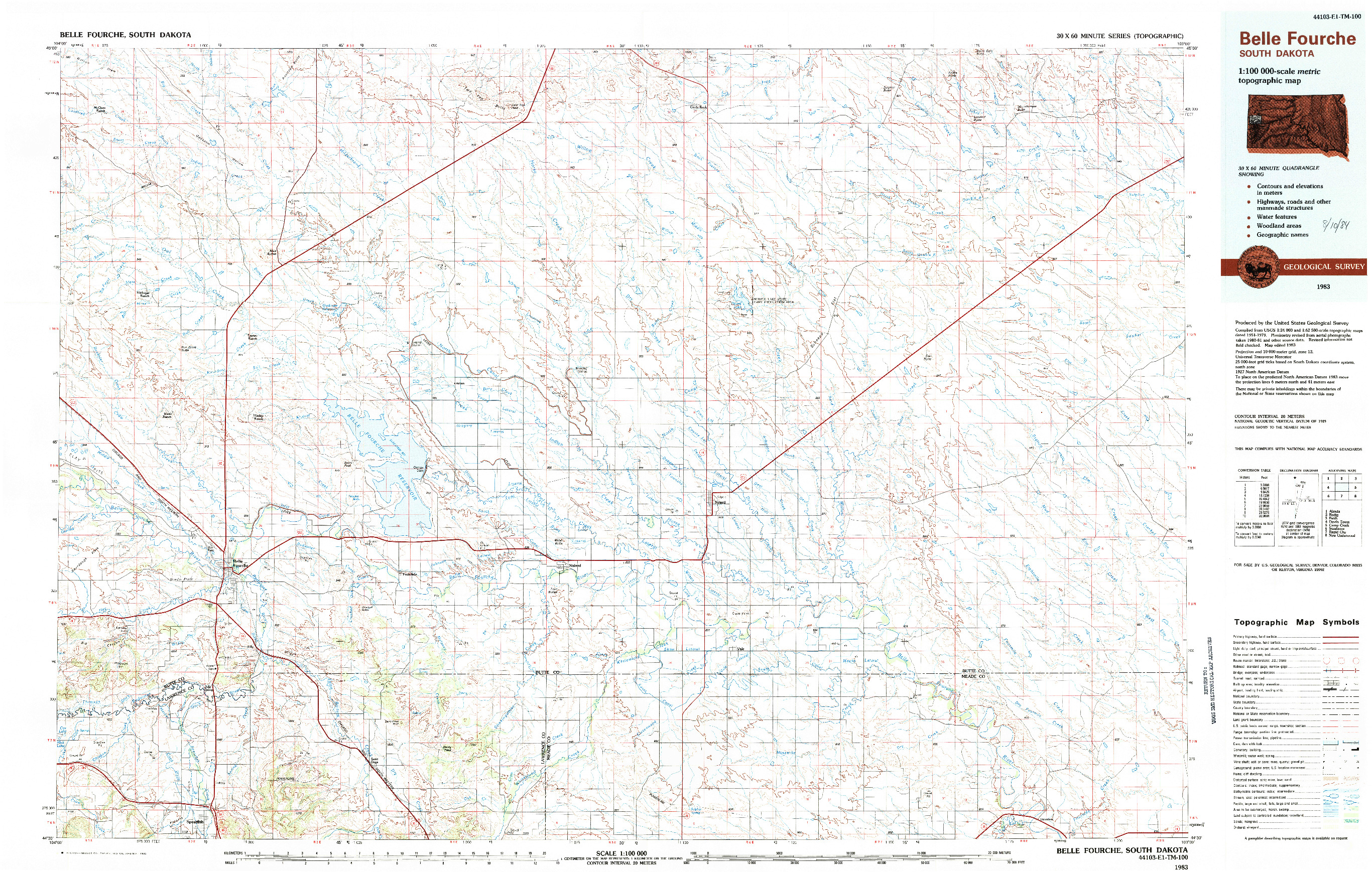 USGS 1:100000-SCALE QUADRANGLE FOR BELLE FOURCHE, SD 1983