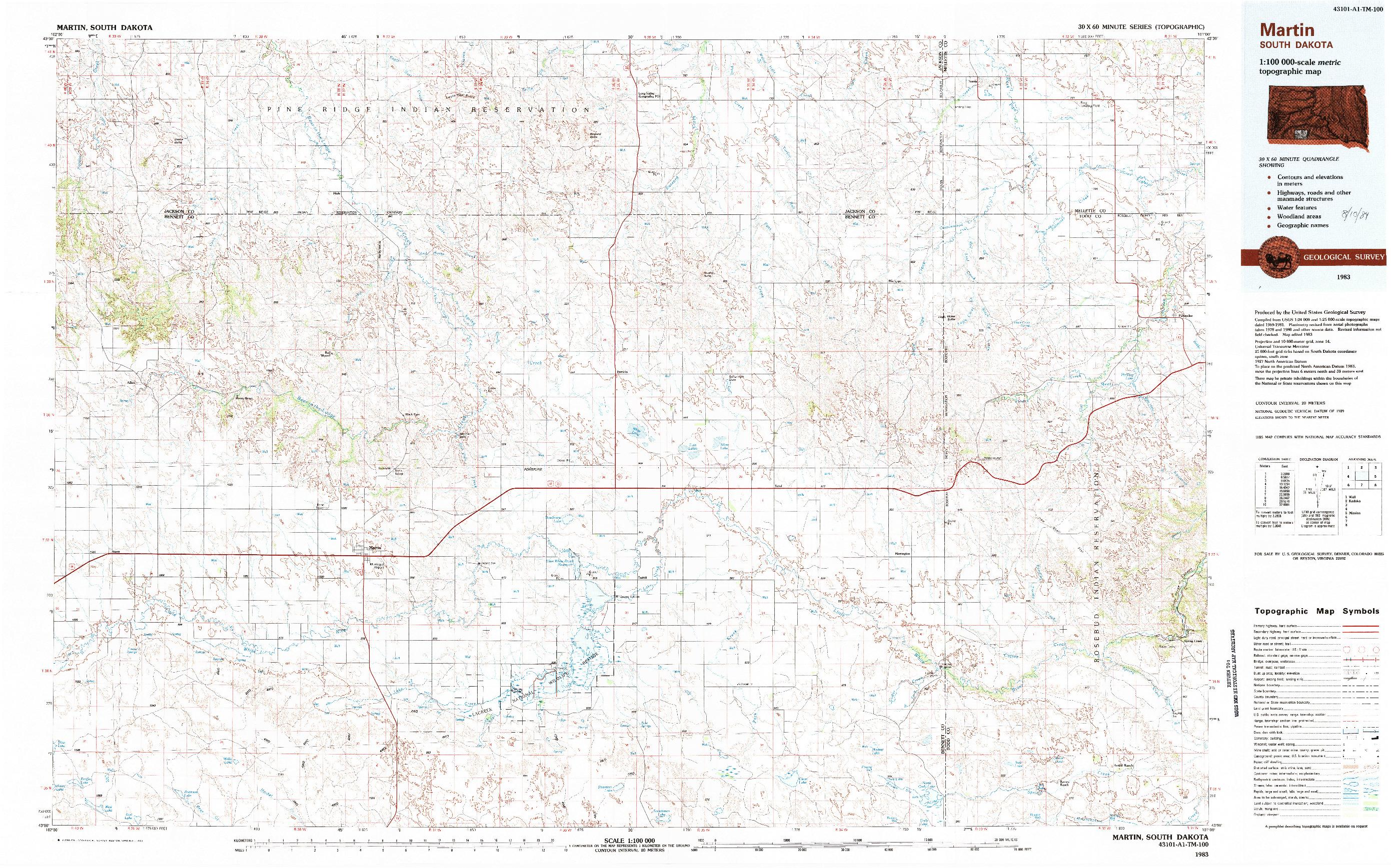 USGS 1:100000-SCALE QUADRANGLE FOR MARTIN, SD 1983