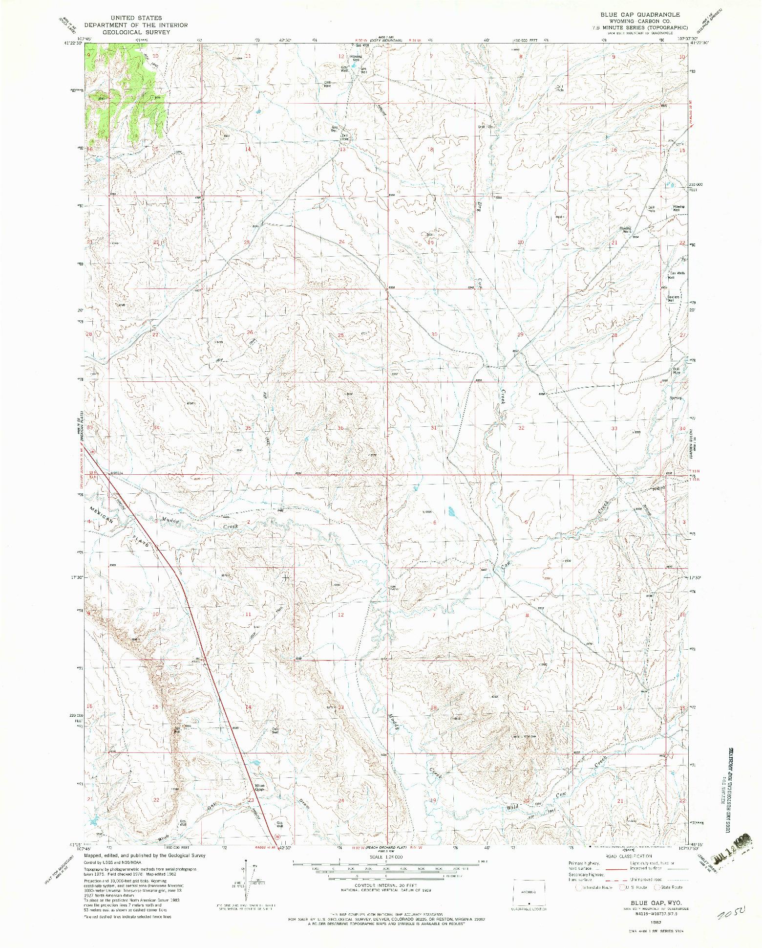 USGS 1:24000-SCALE QUADRANGLE FOR BLUE GAP, WY 1982