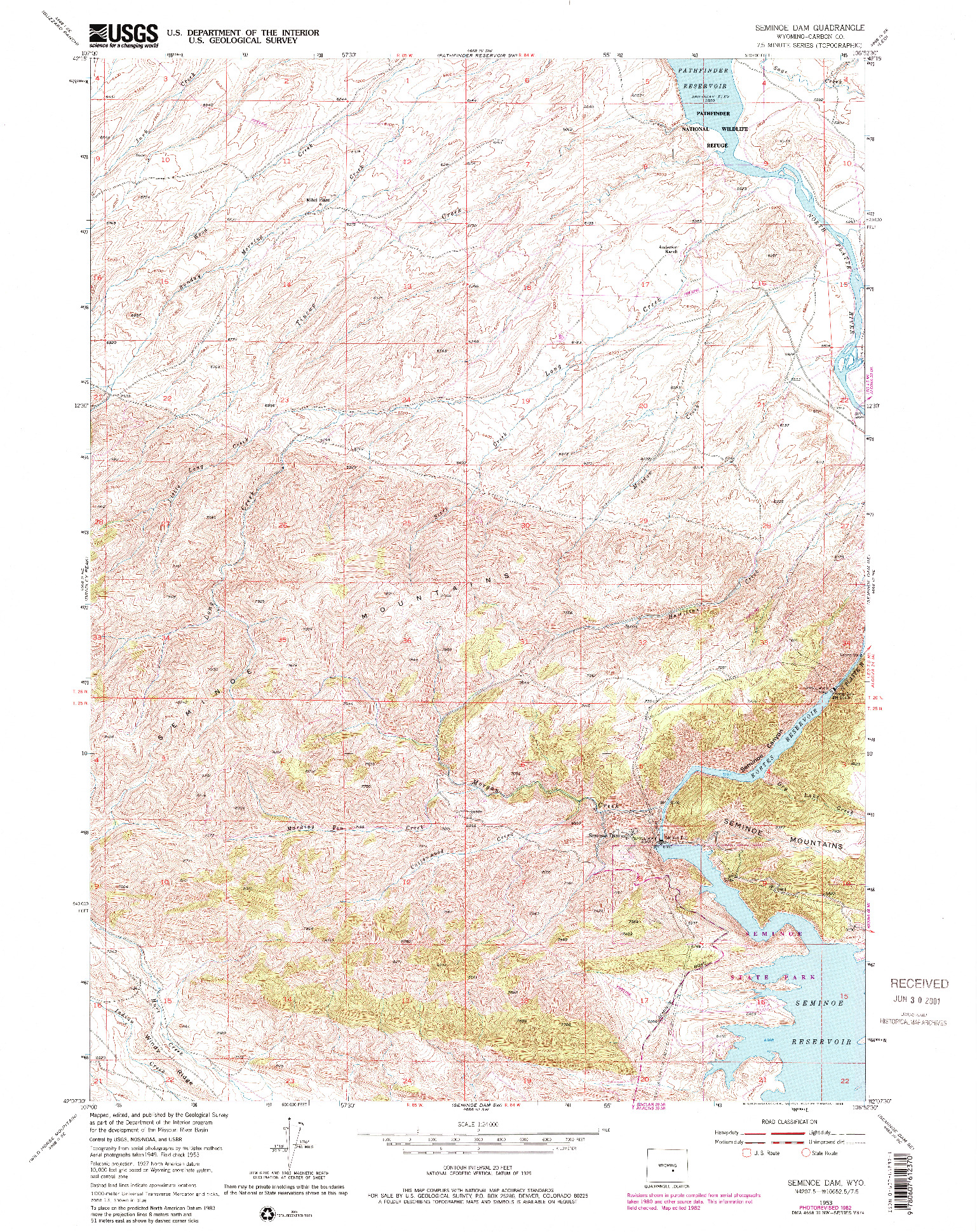 USGS 1:24000-SCALE QUADRANGLE FOR SEMINOE DAM, WY 1953