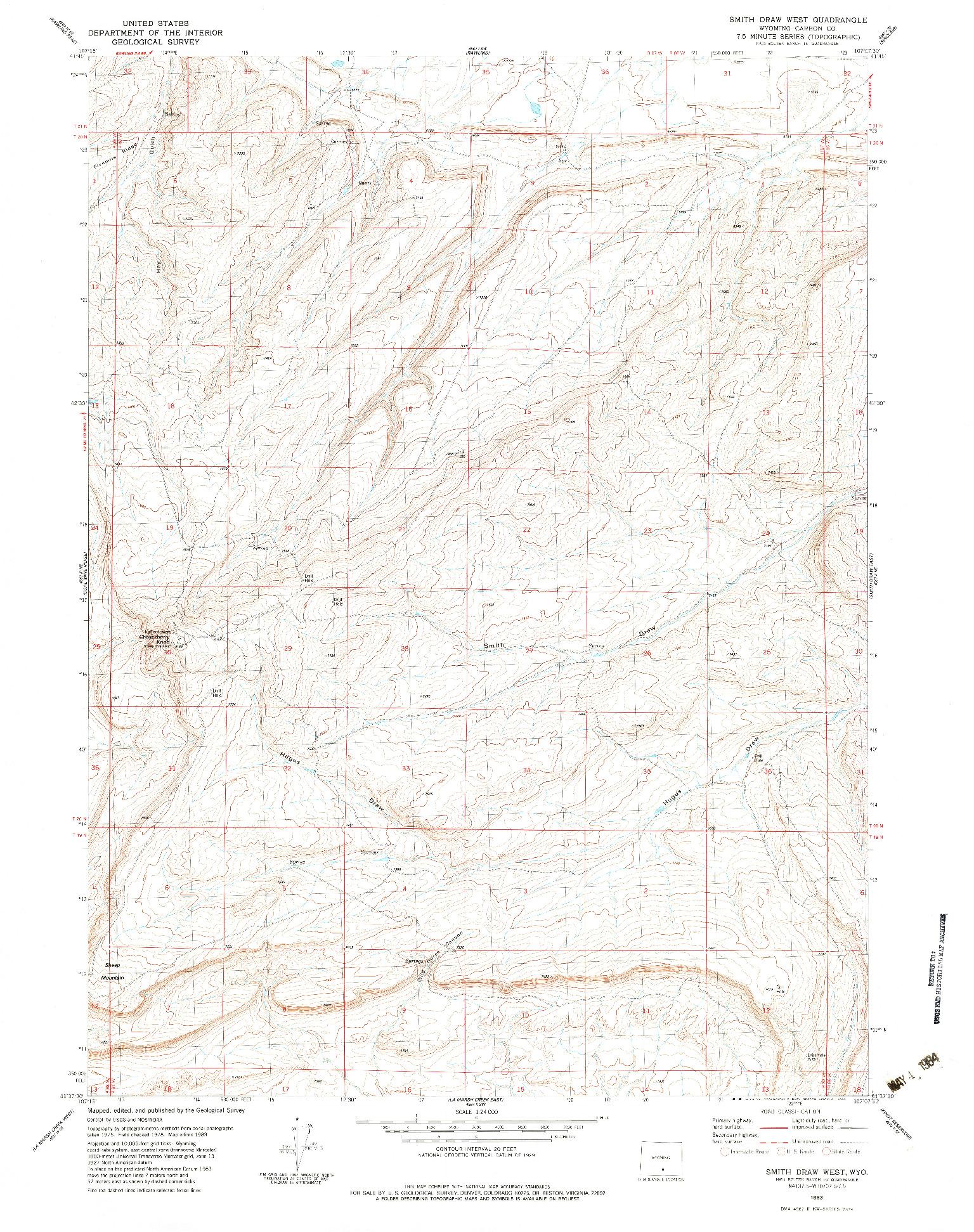USGS 1:24000-SCALE QUADRANGLE FOR SMITH DRAW WEST, WY 1983
