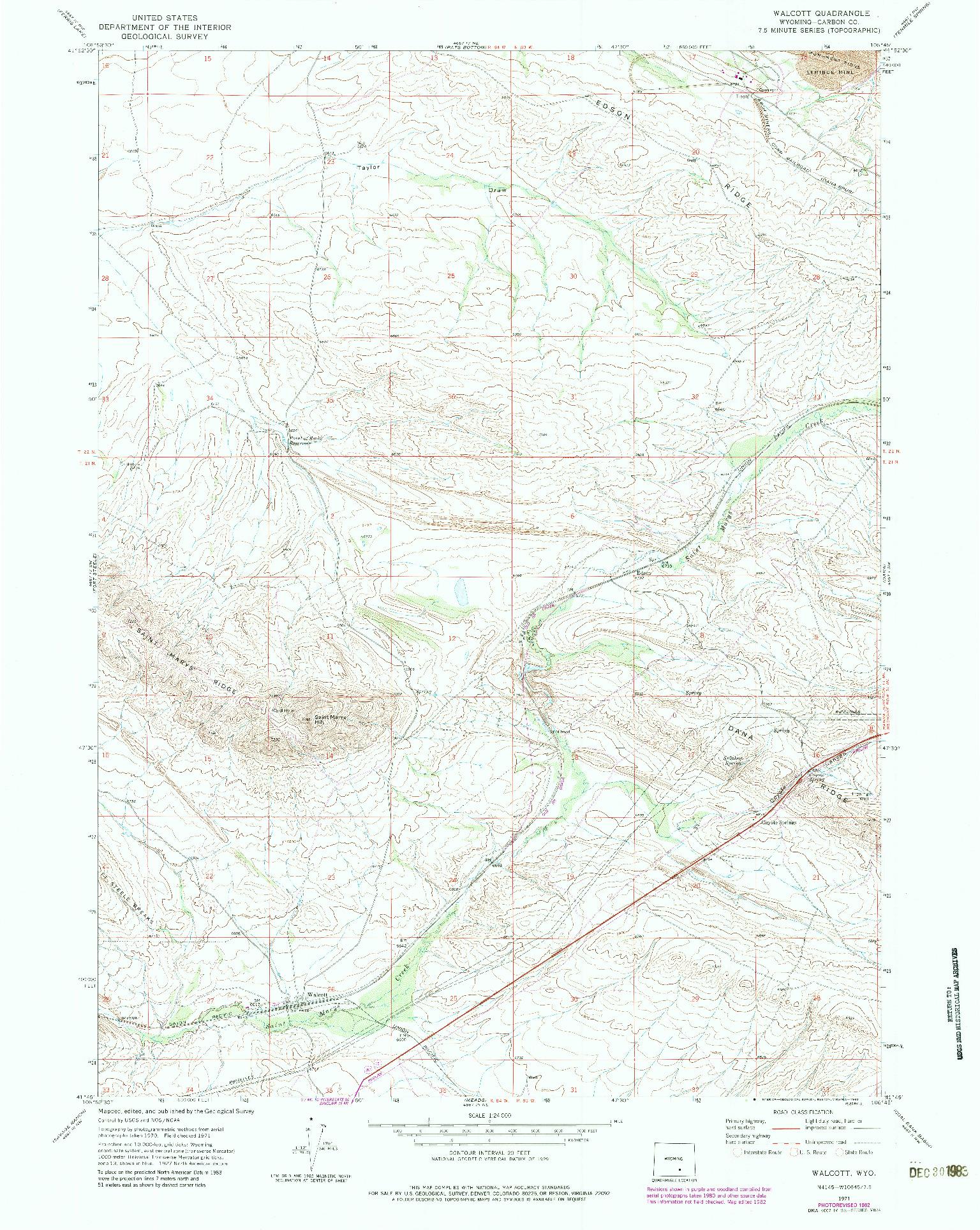 USGS 1:24000-SCALE QUADRANGLE FOR WALCOTT, WY 1971