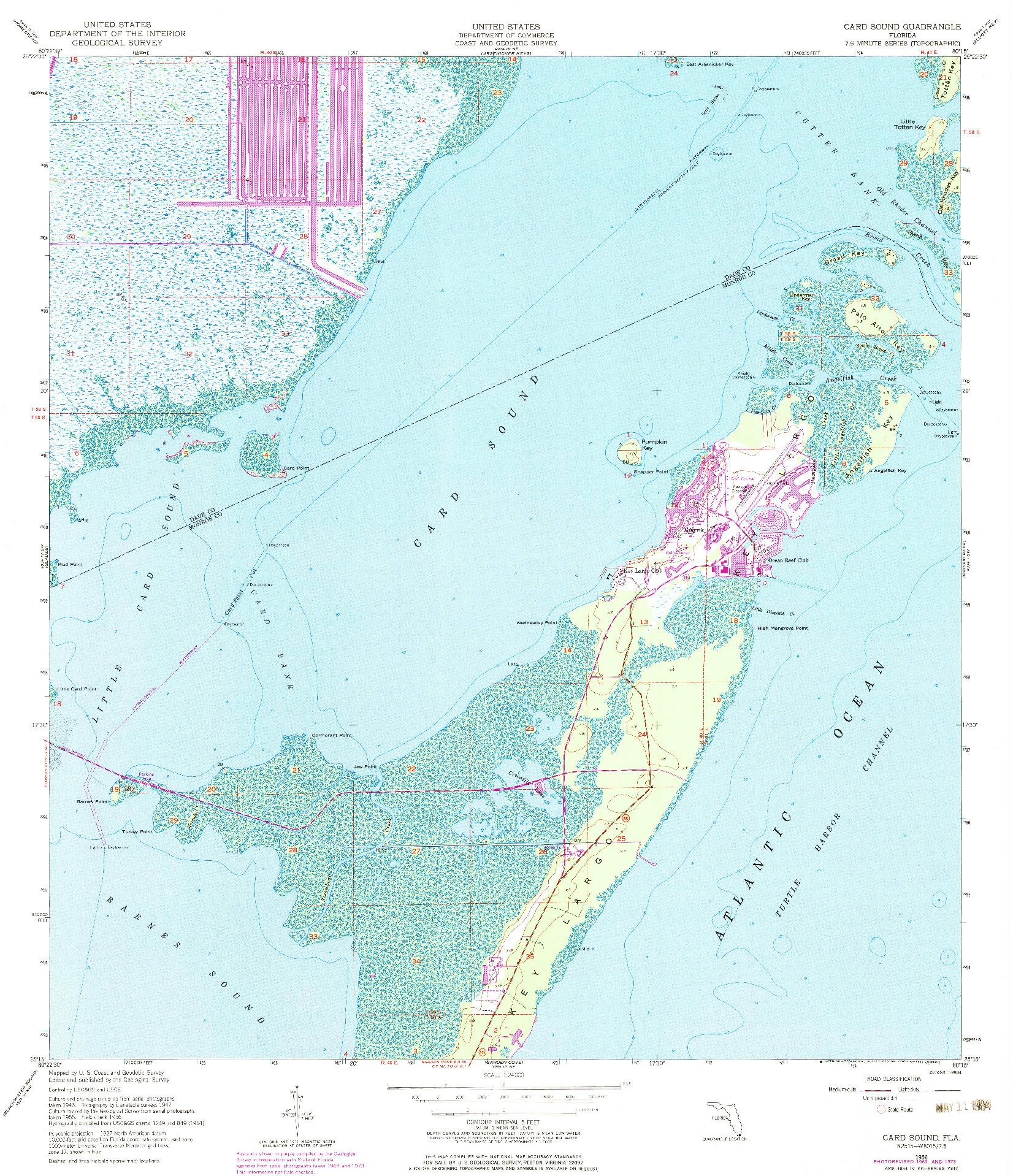 USGS 1:24000-SCALE QUADRANGLE FOR CARD SOUND, FL 1956
