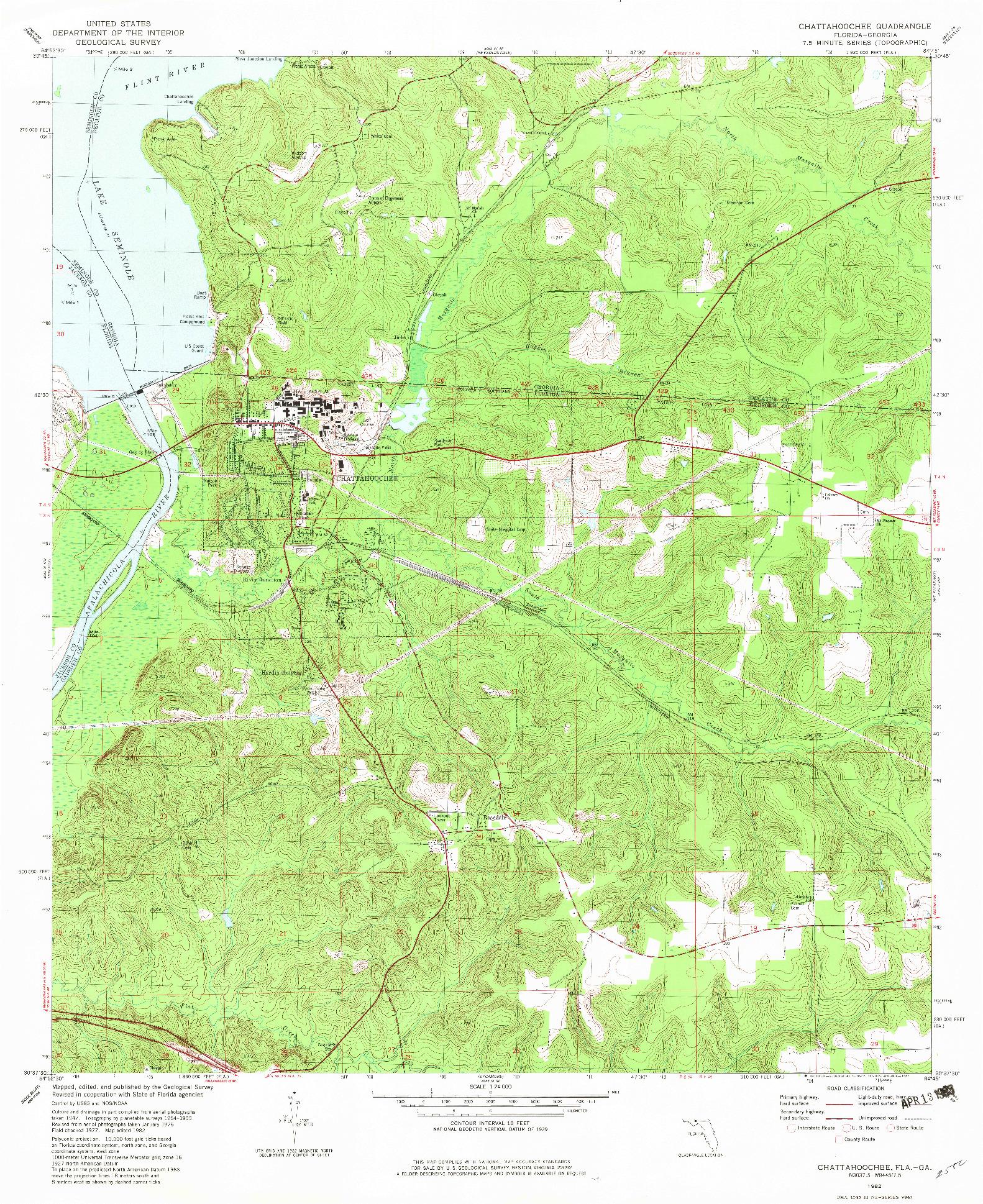 USGS 1:24000-SCALE QUADRANGLE FOR CHATTAHOOCHEE, FL 1982
