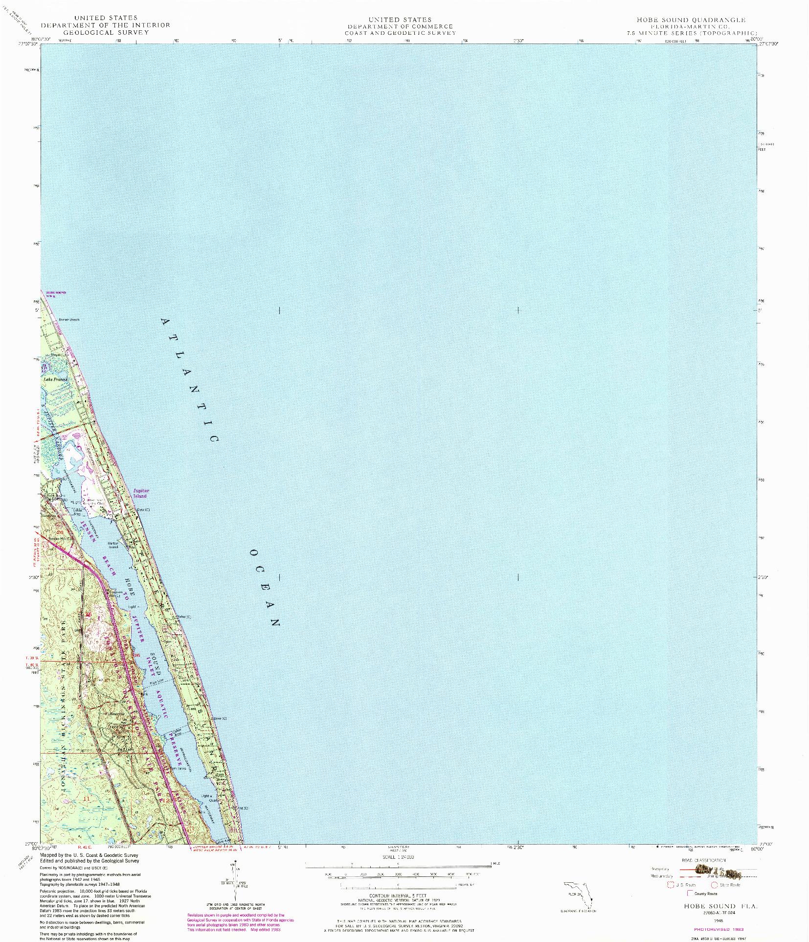 USGS 1:24000-SCALE QUADRANGLE FOR HOBE SOUND, FL 1948