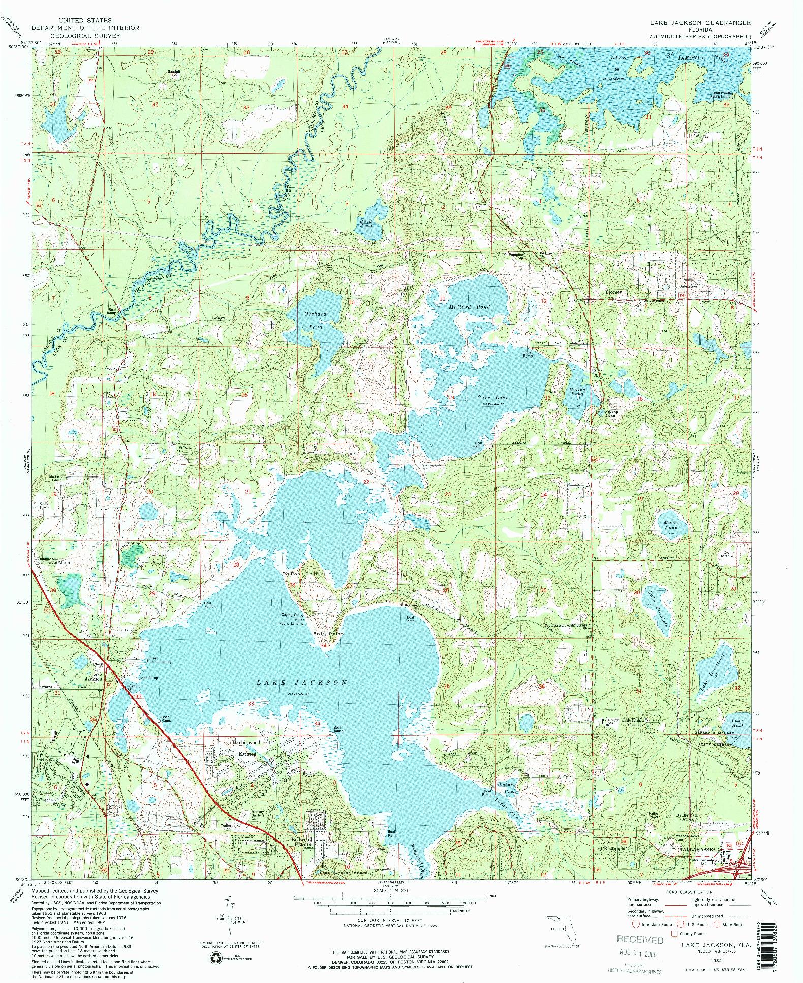 USGS 1:24000-SCALE QUADRANGLE FOR LAKE JACKSON, FL 1982