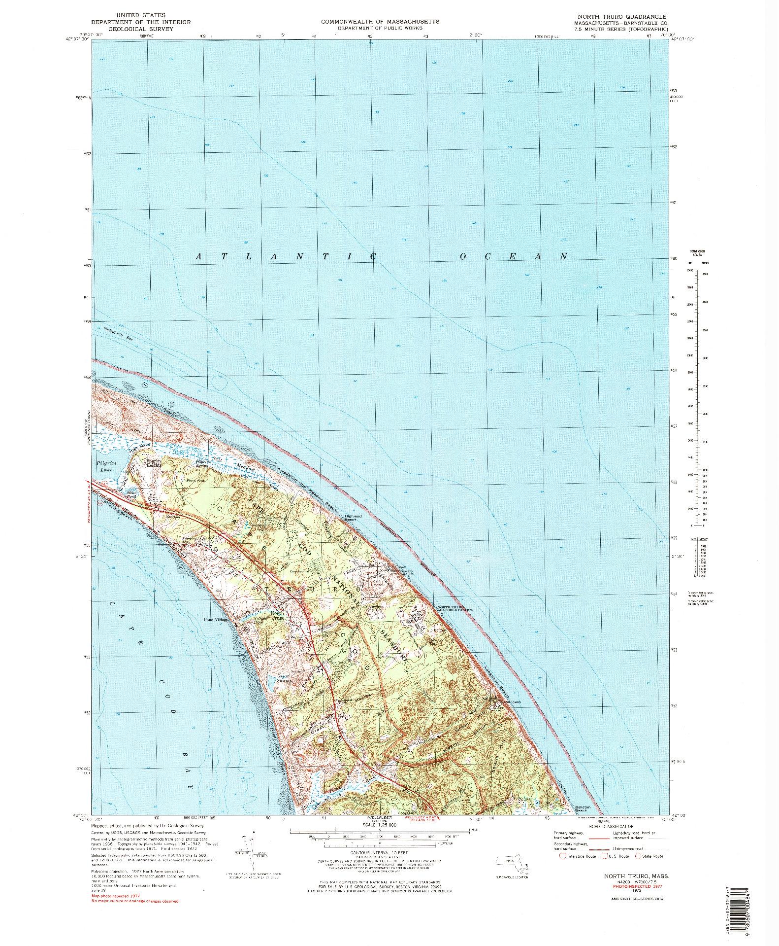 USGS 1:25000-SCALE QUADRANGLE FOR NORTH TRURO, MA 1972