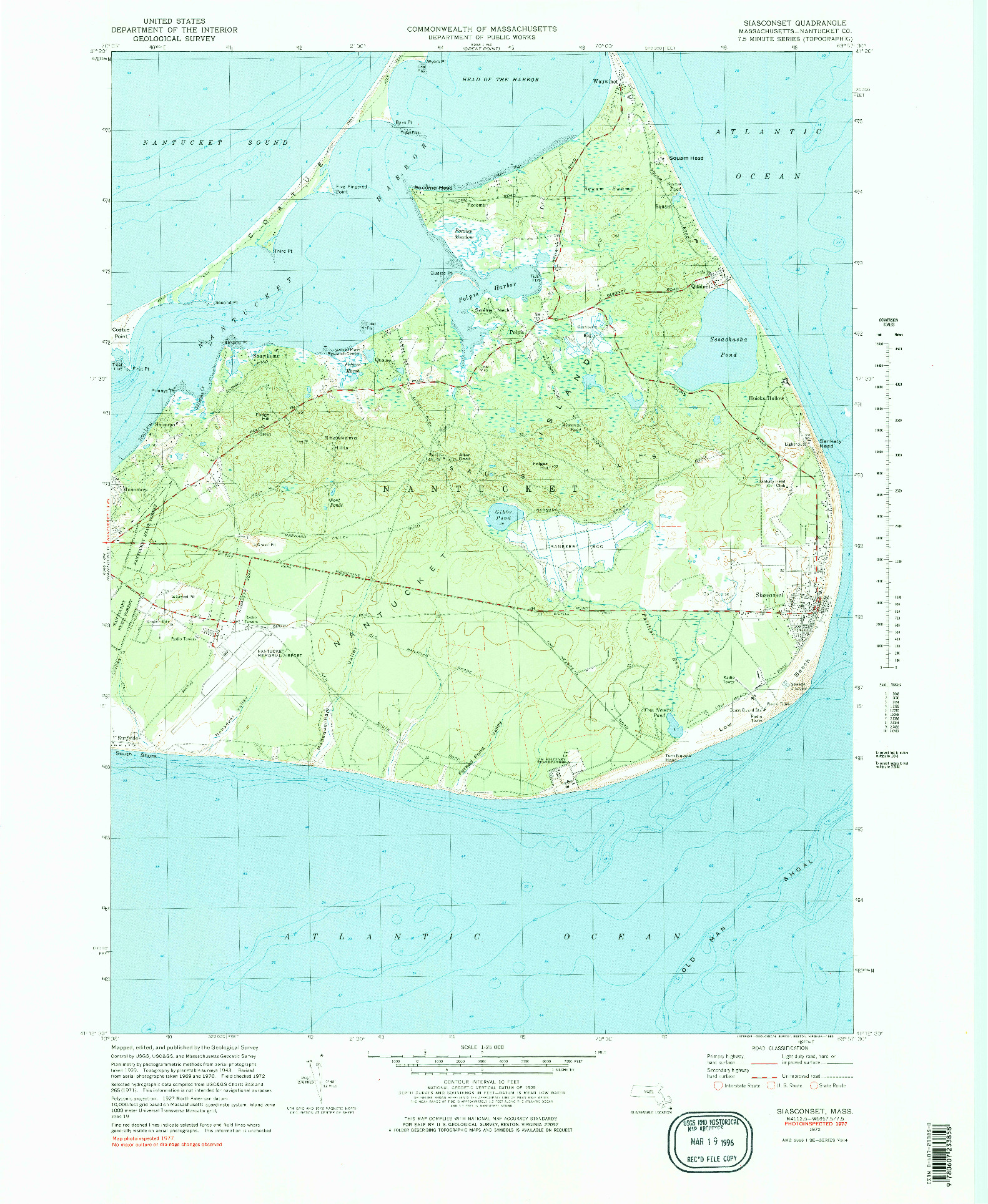 USGS 1:25000-SCALE QUADRANGLE FOR SIASCONSET, MA 1972