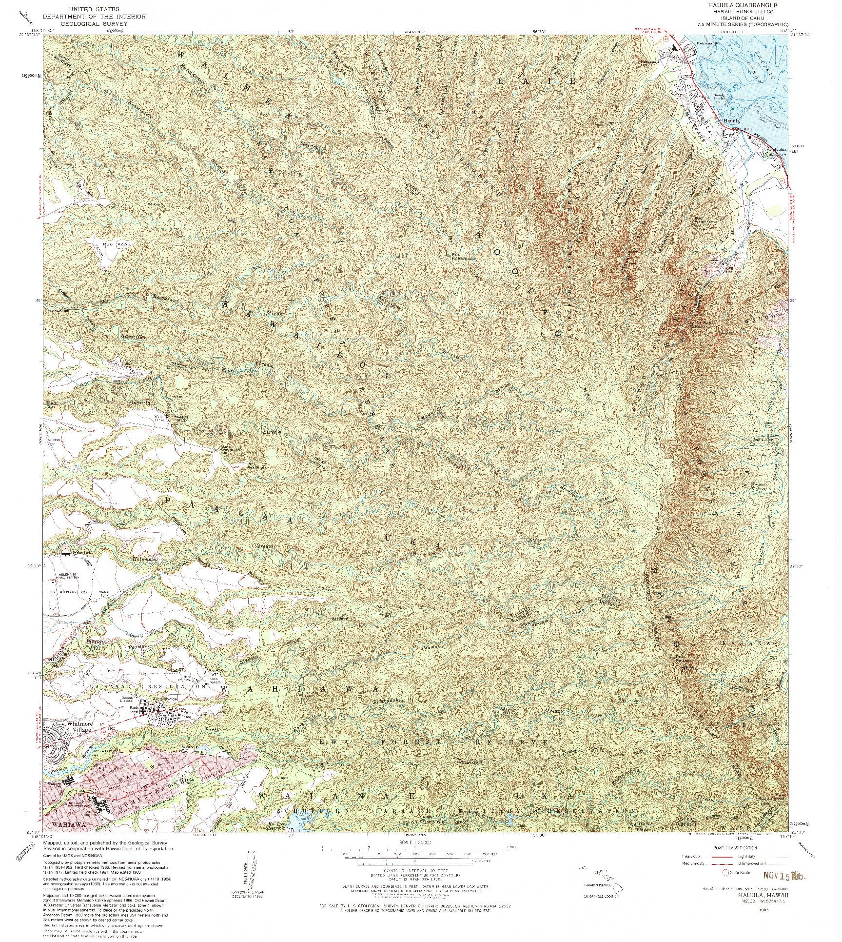 USGS 1:24000-SCALE QUADRANGLE FOR HAUULA, HI 1983