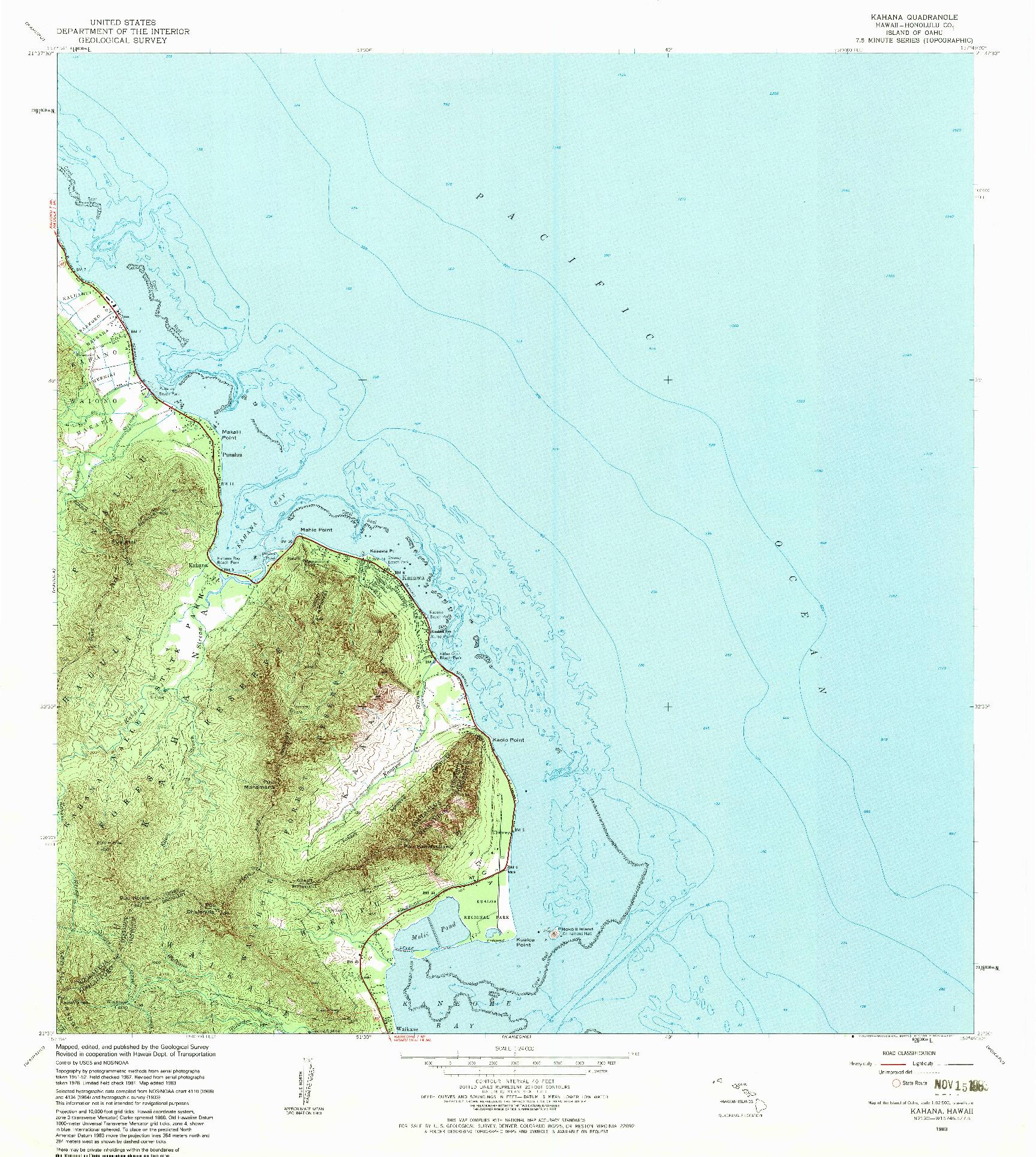 USGS 1:24000-SCALE QUADRANGLE FOR KAHANA, HI 1983