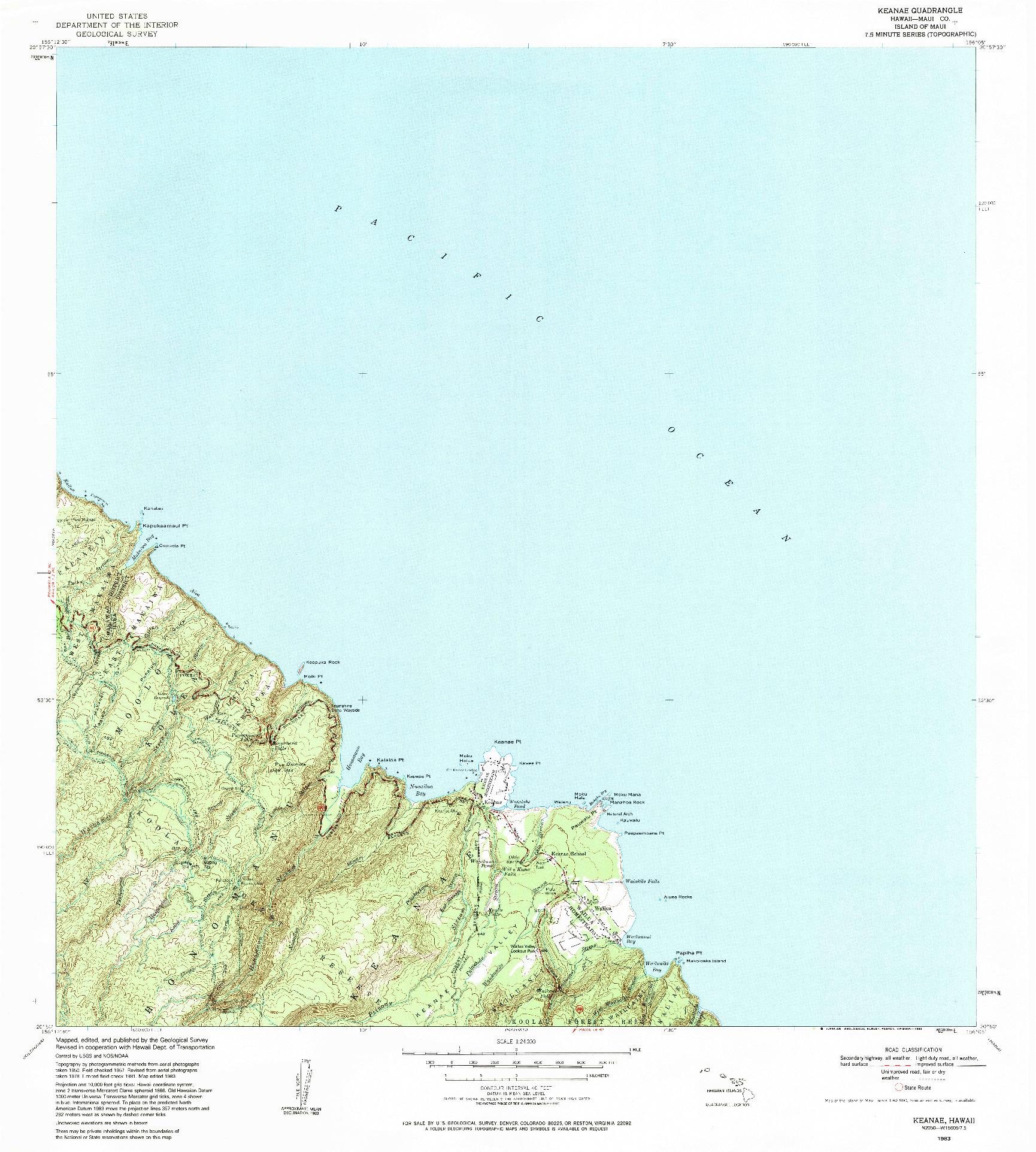 USGS 1:24000-SCALE QUADRANGLE FOR KEANAE, HI 1983