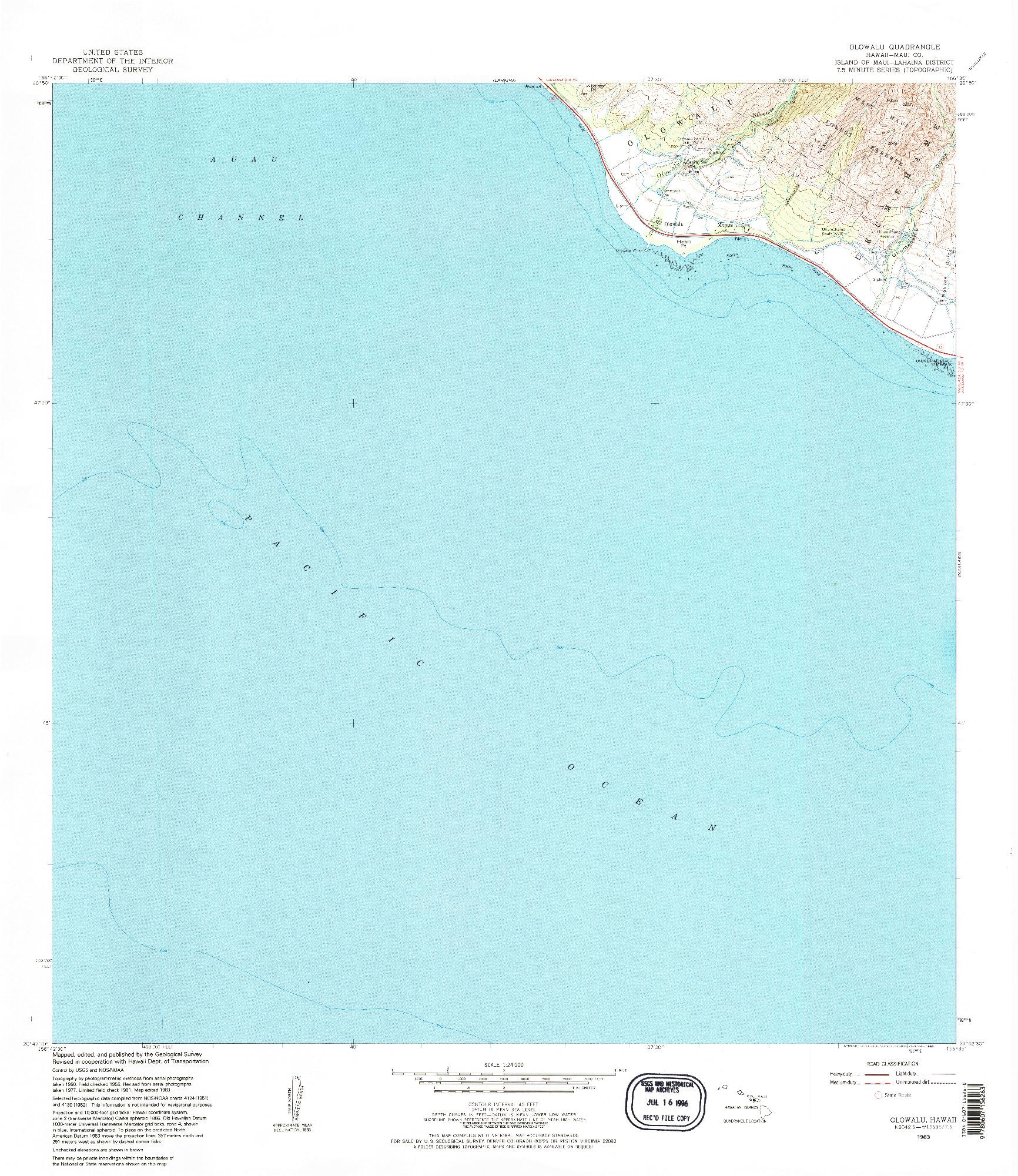 USGS 1:24000-SCALE QUADRANGLE FOR OLOWALU, HI 1983