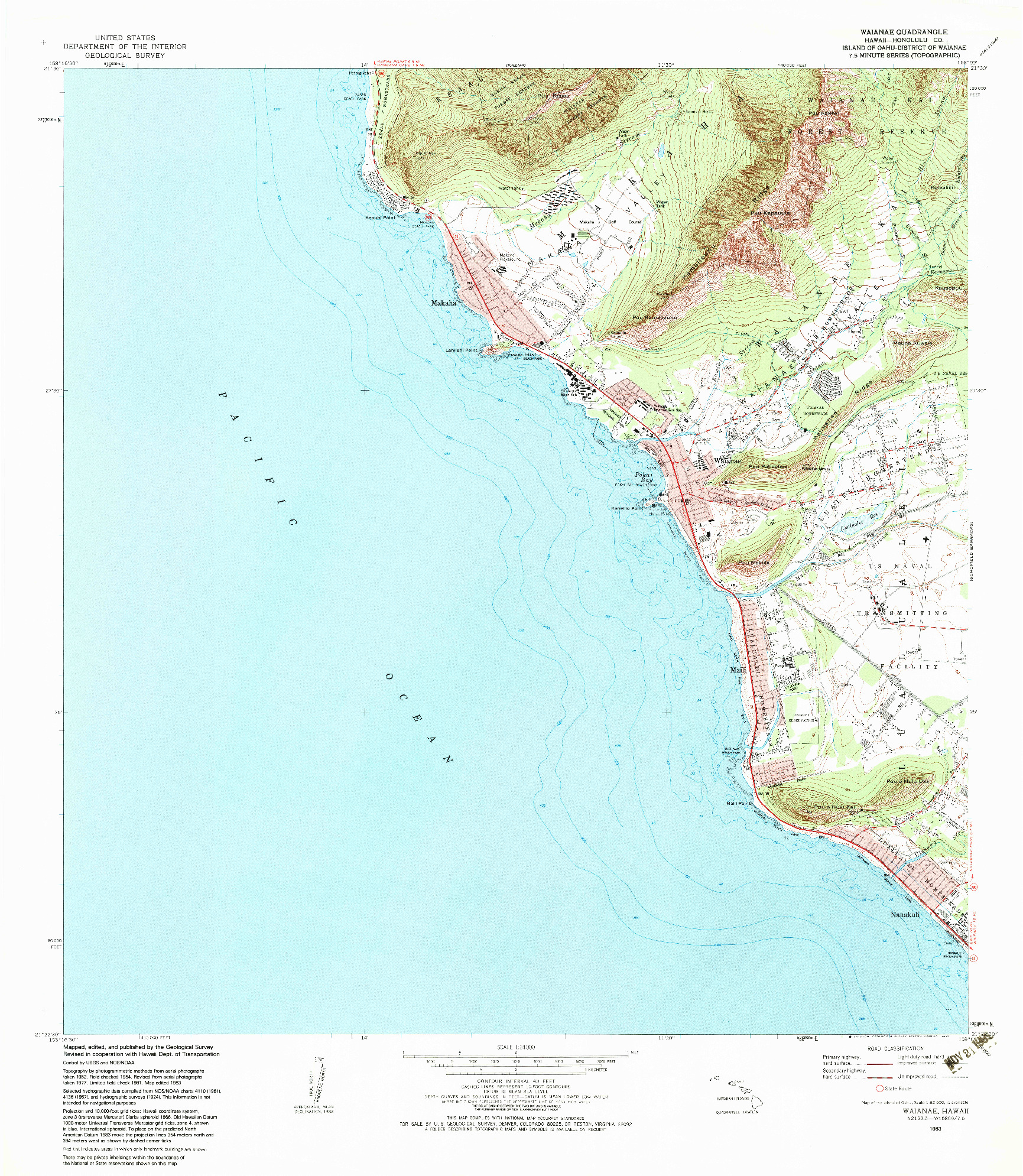USGS 1:24000-SCALE QUADRANGLE FOR WAIANAE, HI 1983