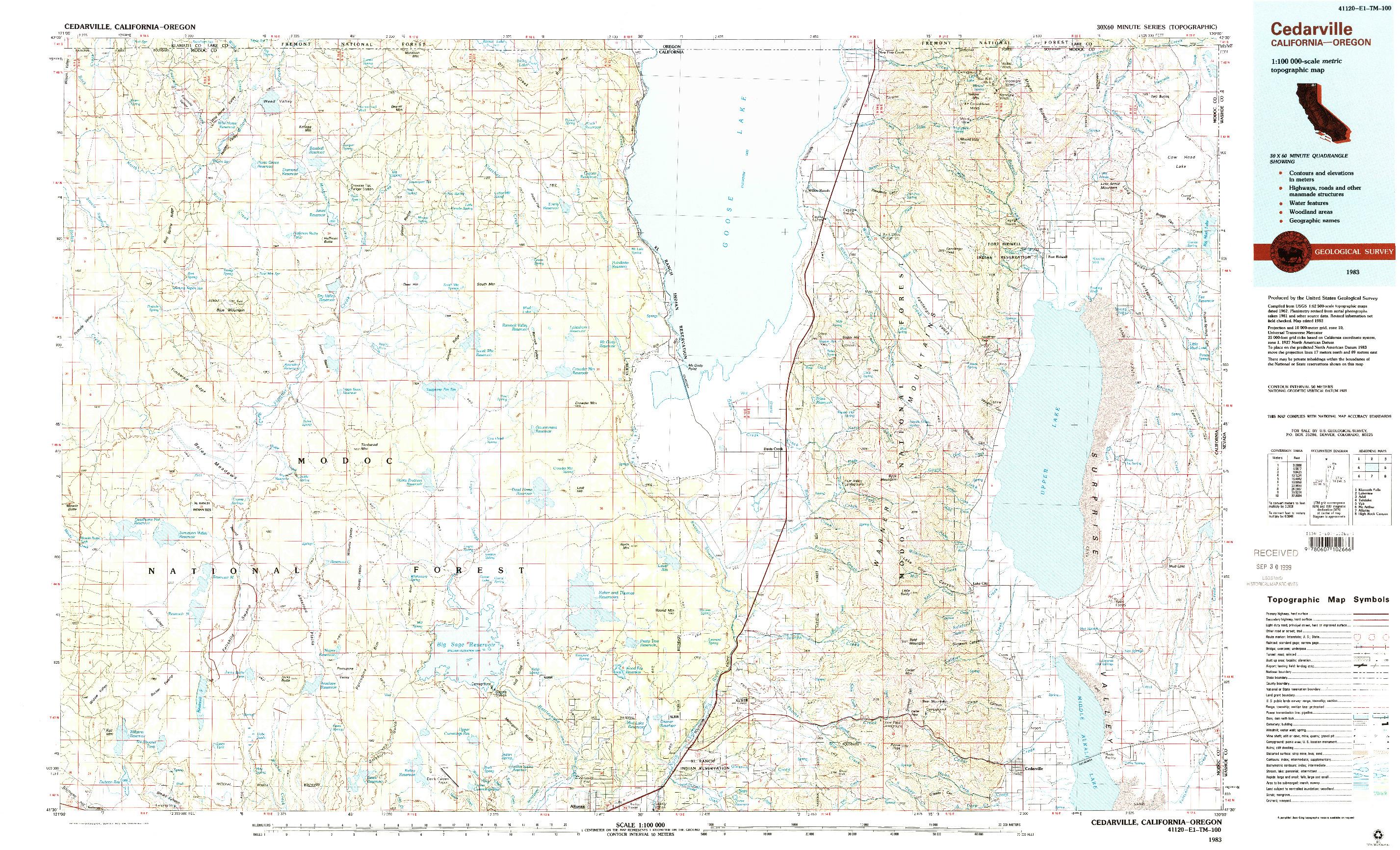 USGS 1:100000-SCALE QUADRANGLE FOR CEDARVILLE, CA 1983