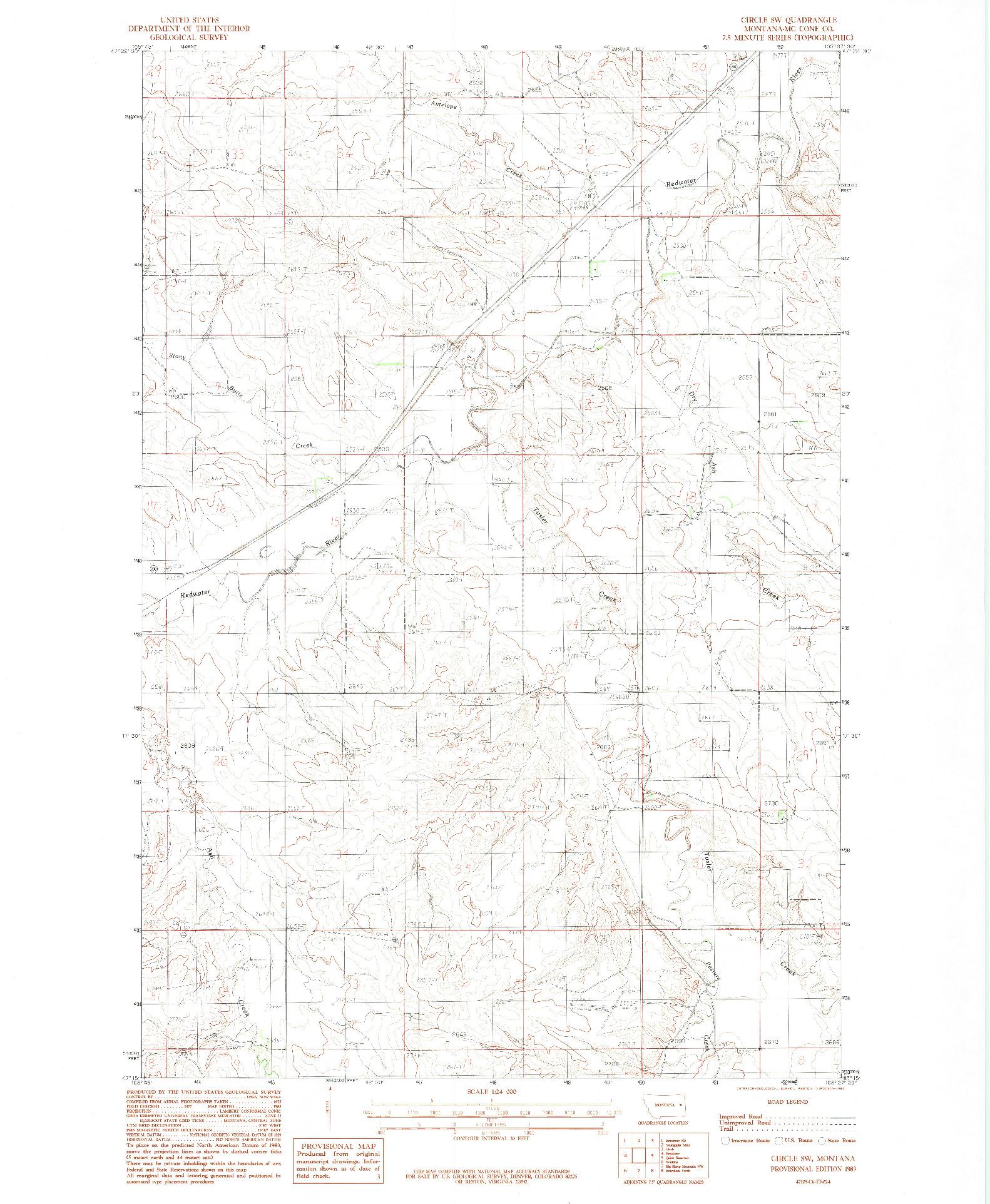 USGS 1:24000-SCALE QUADRANGLE FOR CIRCLE SW, MT 1983
