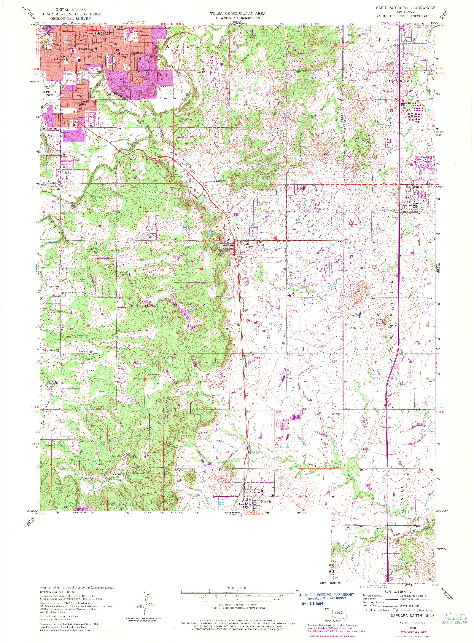 USGS 1:24000-SCALE QUADRANGLE FOR SAPULPA SOUTH, OK 1958
