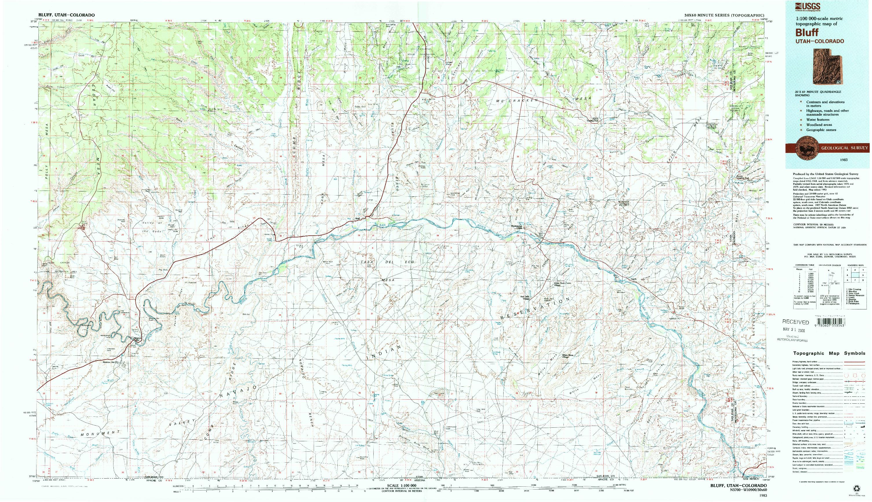 USGS 1:100000-SCALE QUADRANGLE FOR BLUFF, UT 1983