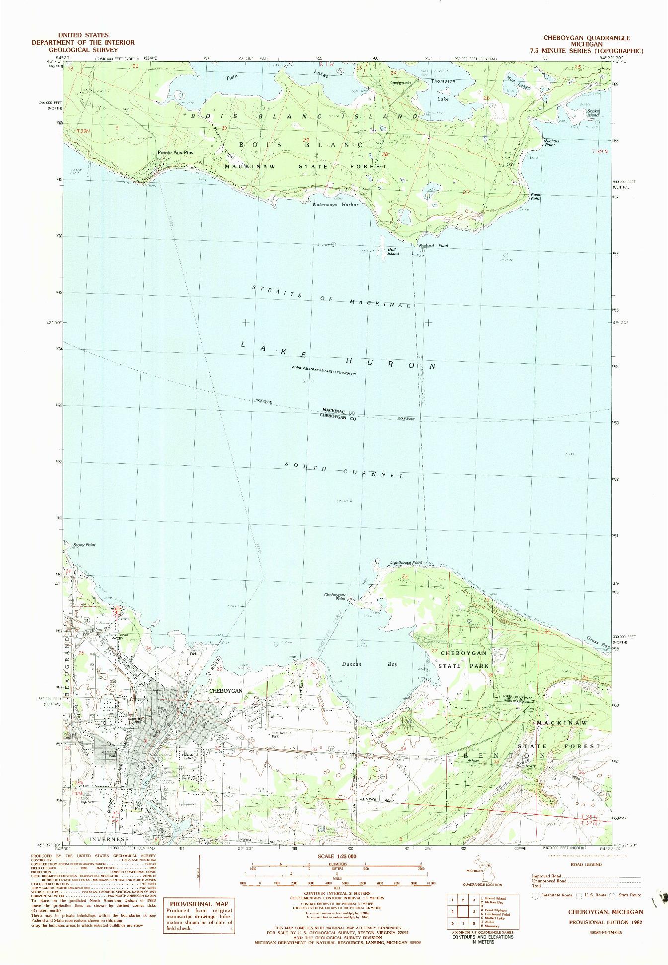 USGS 1:25000-SCALE QUADRANGLE FOR CHEBOYGAN, MI 1982