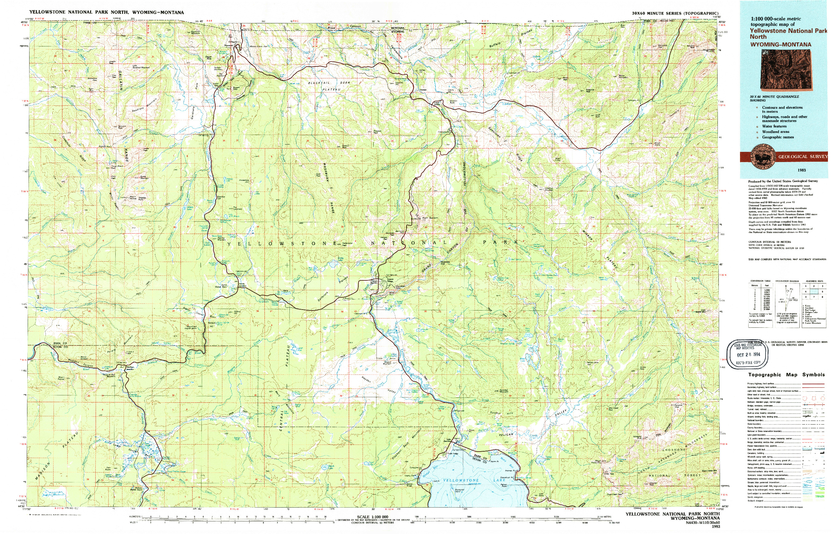 USGS 1:100000-SCALE QUADRANGLE FOR YELLOWSTONE NATIONAL PARK NORTH, WY 1983