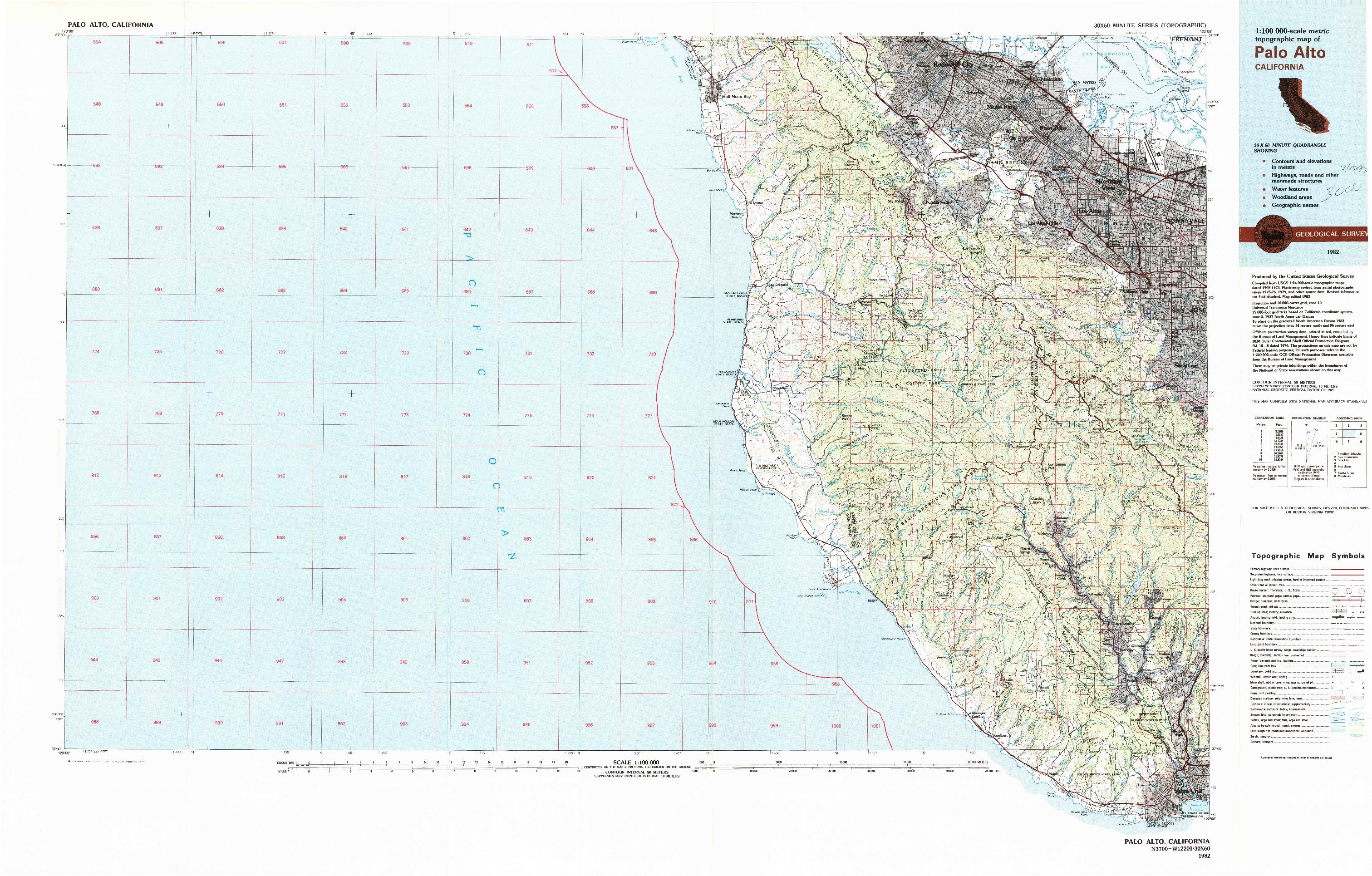 USGS 1:100000-SCALE QUADRANGLE FOR PALO ALTO, CA 1982