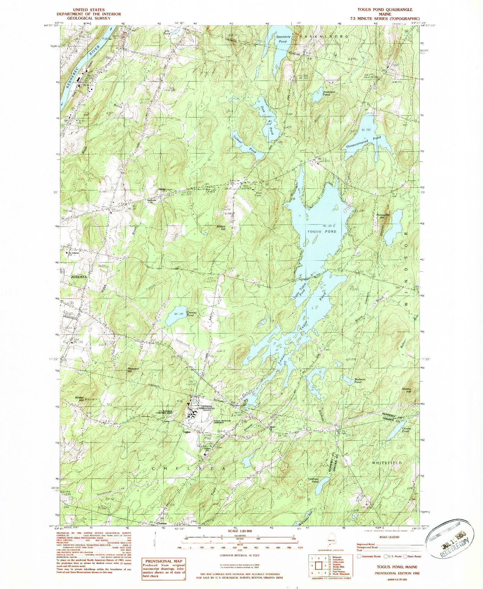 USGS 1:24000-SCALE QUADRANGLE FOR TOGUS POND, ME 1982