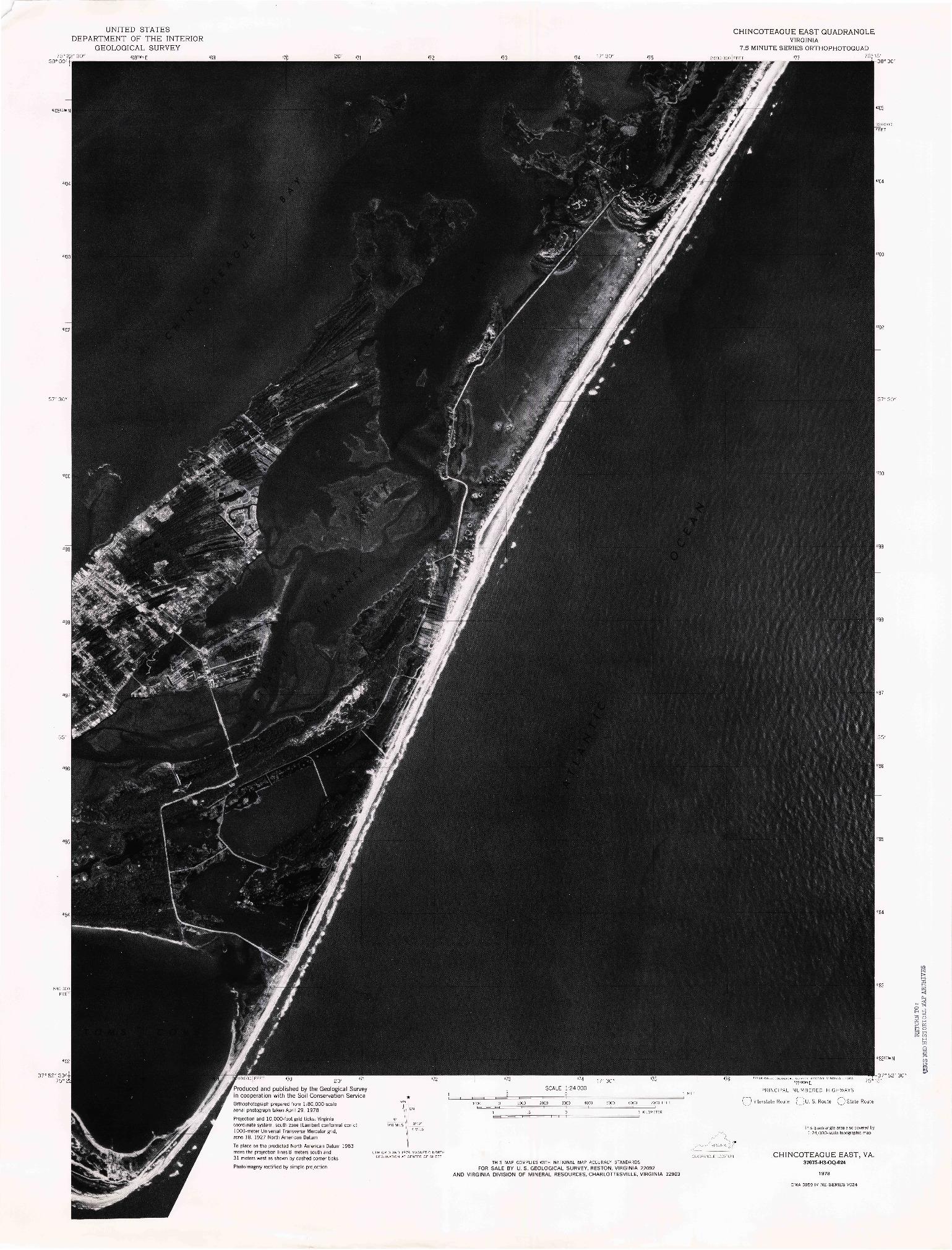 USGS 1:24000-SCALE QUADRANGLE FOR CHINCOTEAGUE EAST, VA 1978