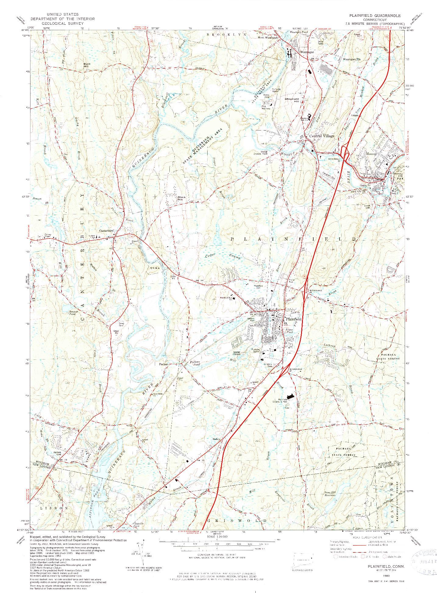 USGS 1:24000-SCALE QUADRANGLE FOR PLAINFIELD, CT 1983