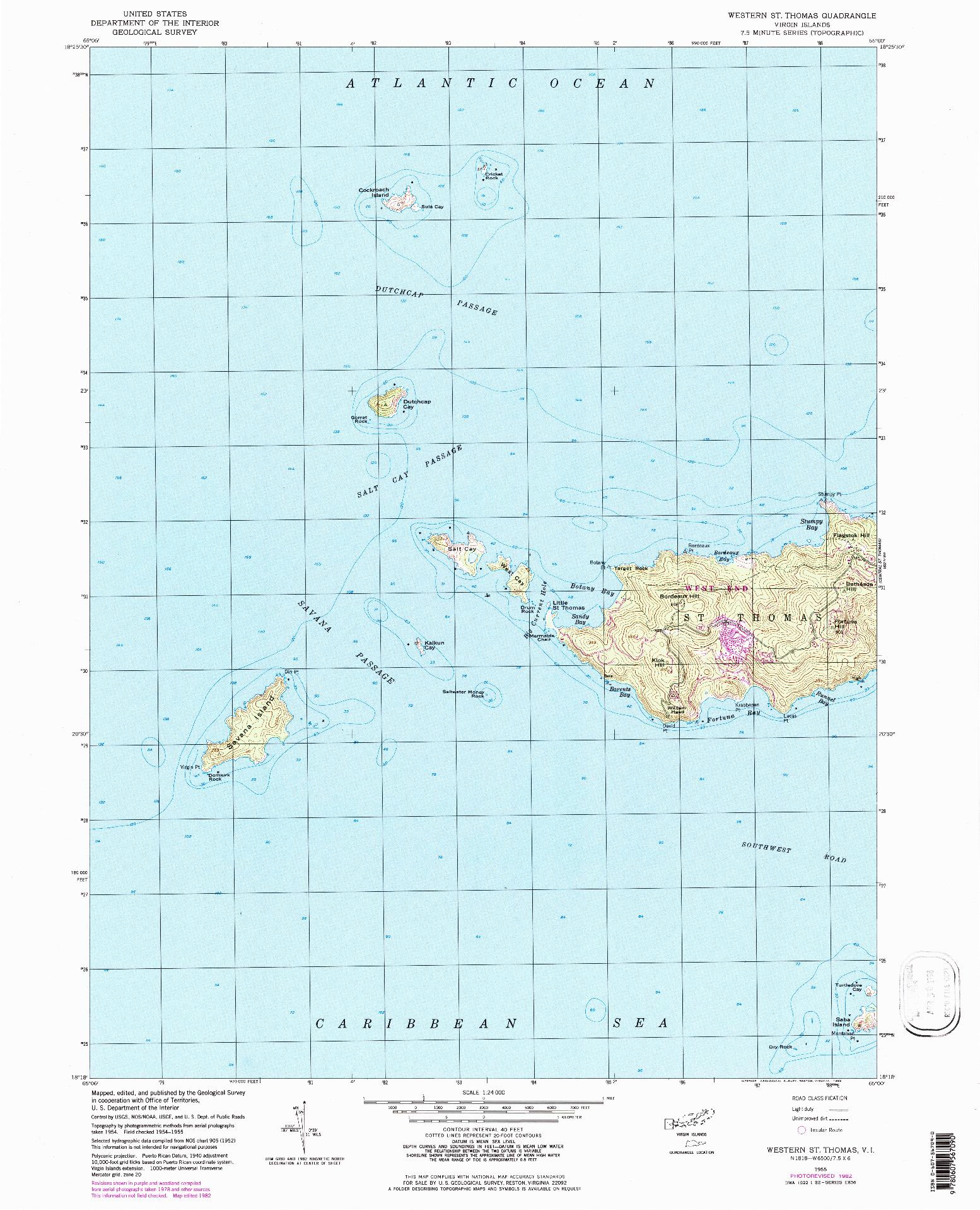 USGS 1:24000-SCALE QUADRANGLE FOR WESTERN ST. THOMAS, VI 1955