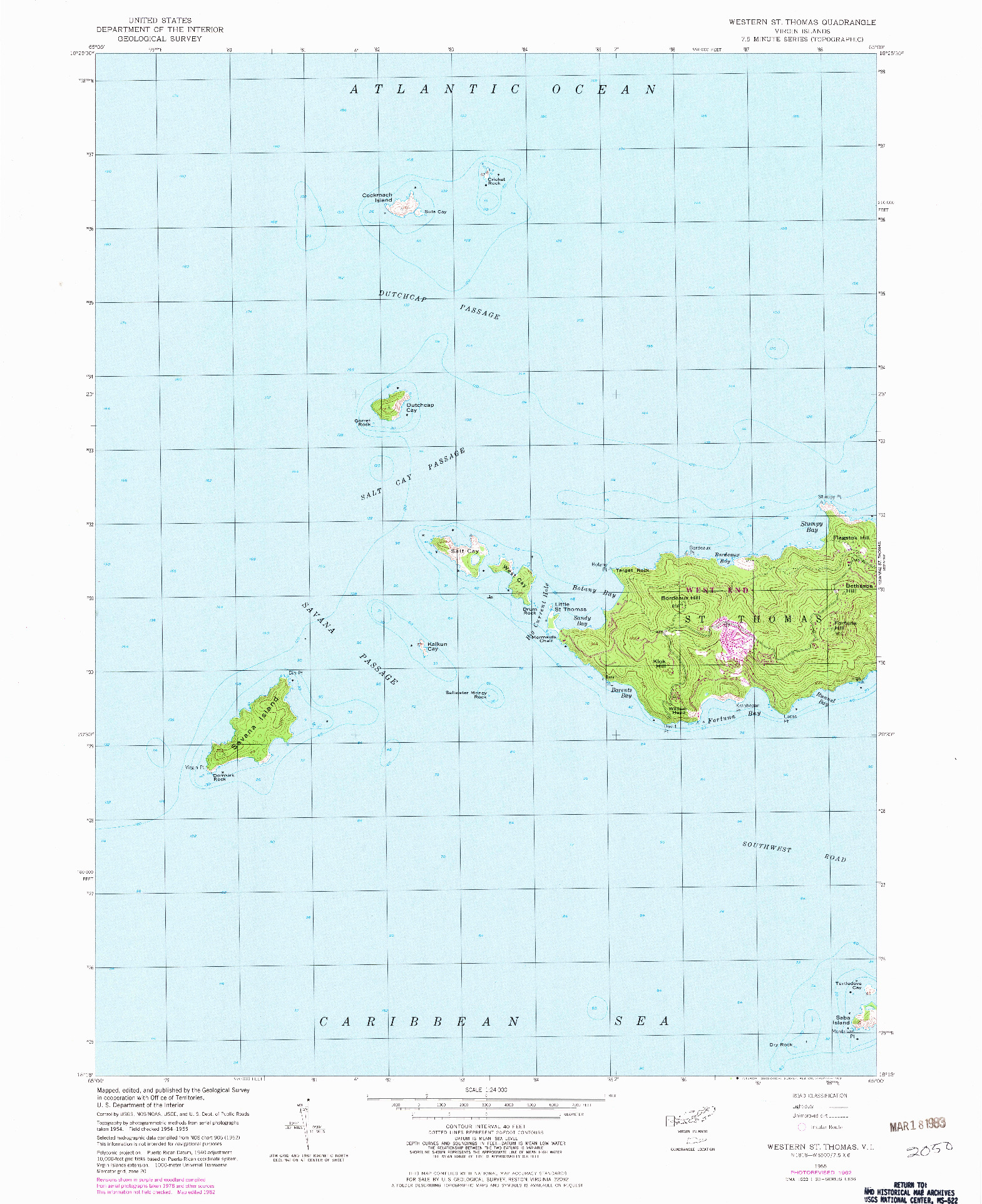 USGS 1:24000-SCALE QUADRANGLE FOR WESTERN ST. THOMAS, VI 1955