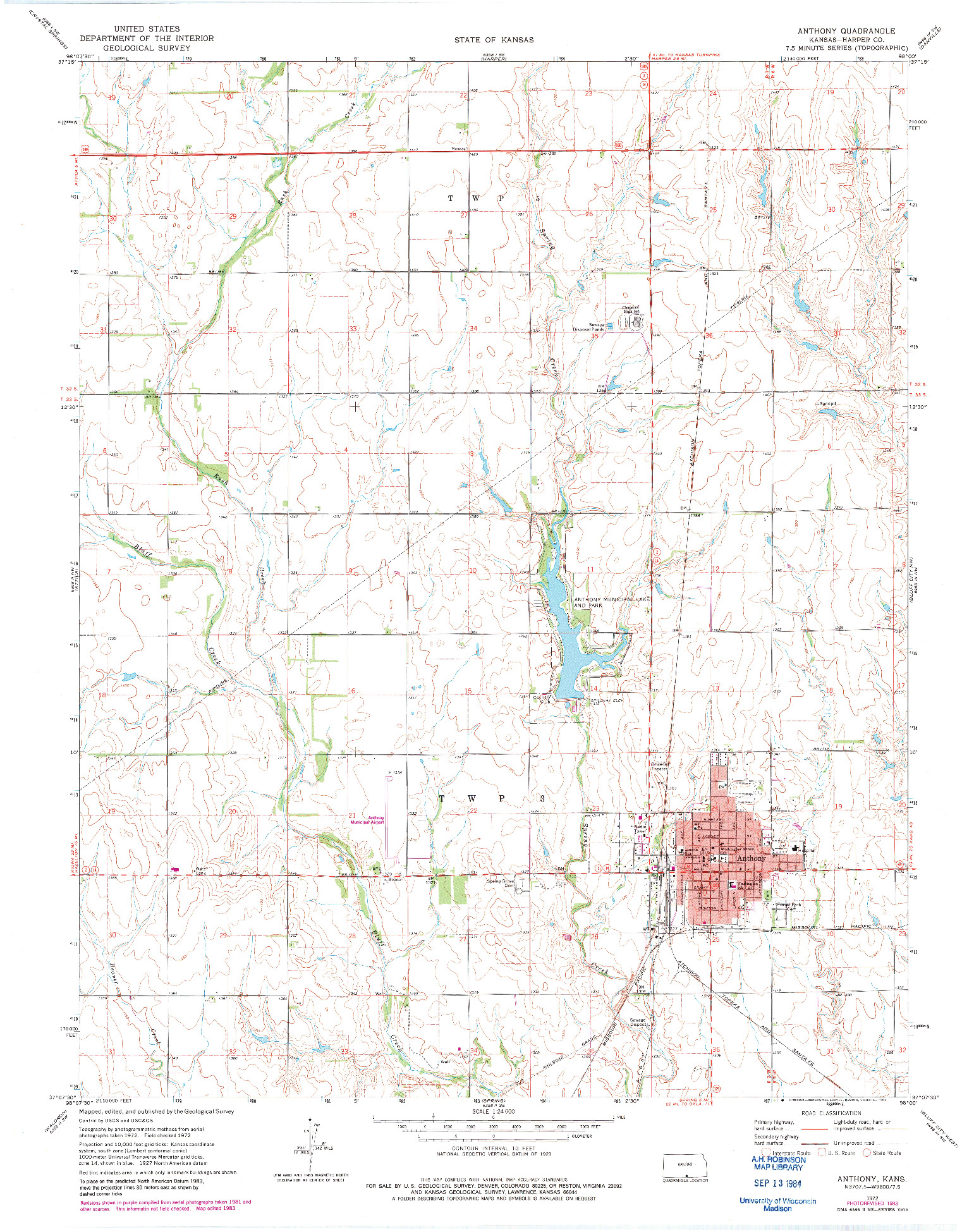 USGS 1:24000-SCALE QUADRANGLE FOR ANTHONY, KS 1972