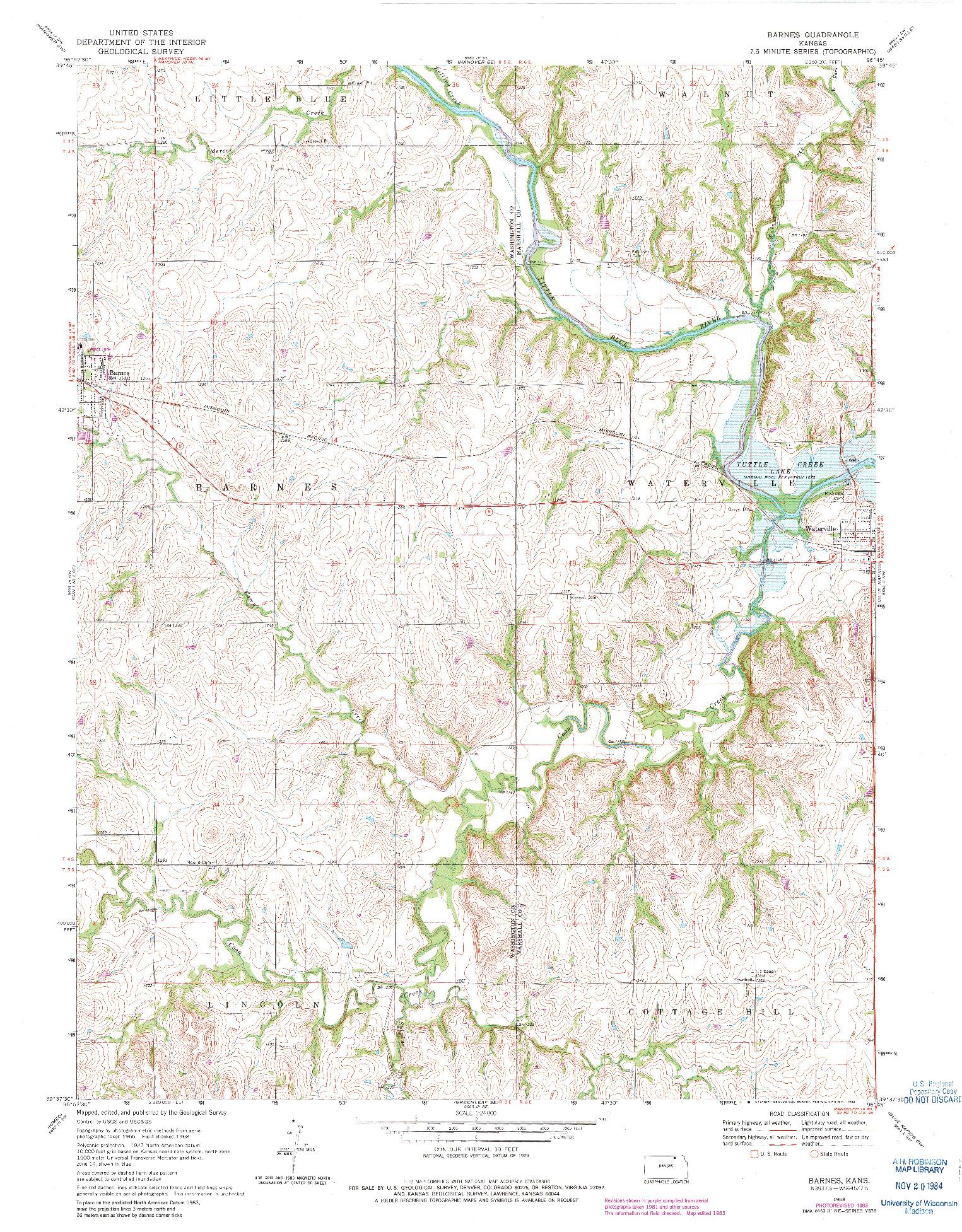 USGS 1:24000-SCALE QUADRANGLE FOR BARNES, KS 1968