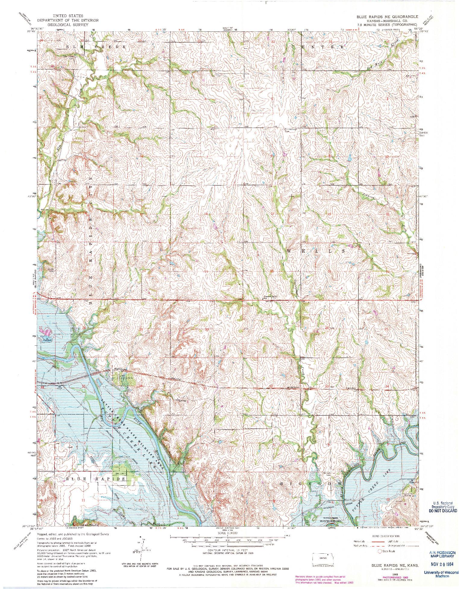 USGS 1:24000-SCALE QUADRANGLE FOR BLUE RAPIDS NE, KS 1968