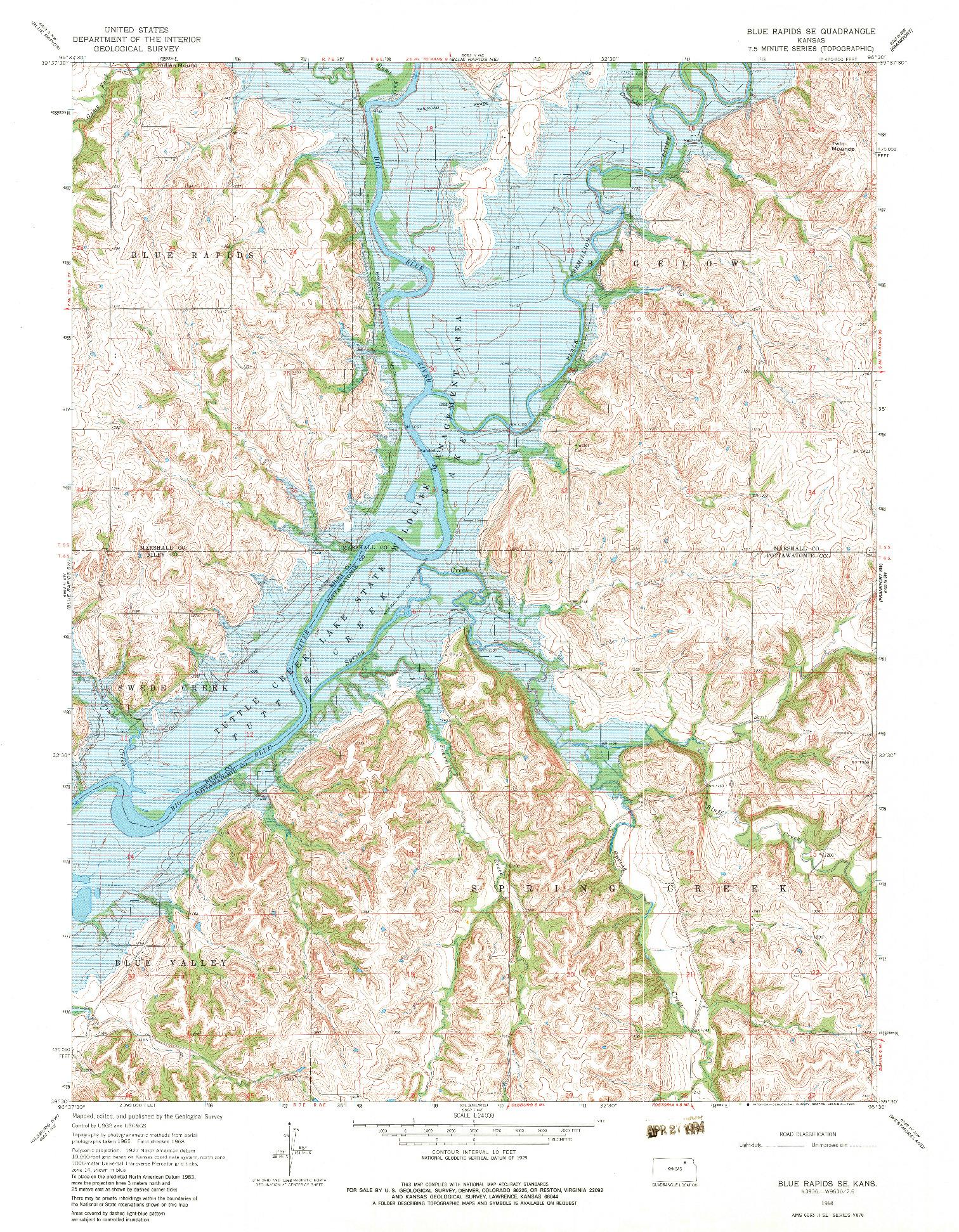 USGS 1:24000-SCALE QUADRANGLE FOR BLUE RAPIDS SE, KS 1968