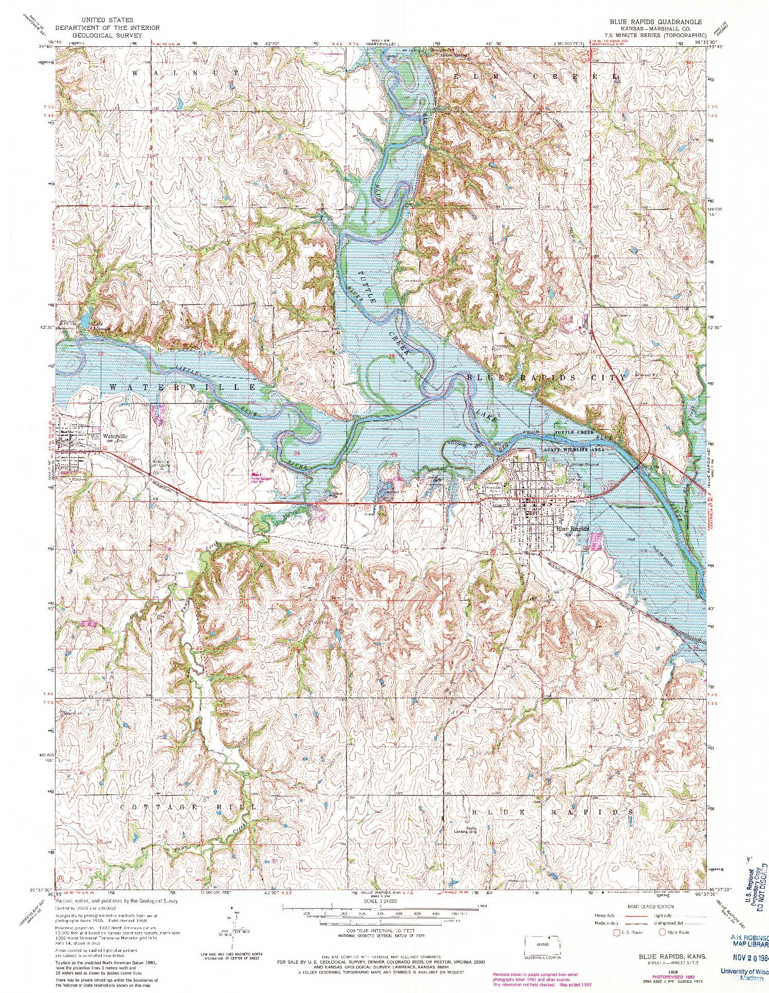 USGS 1:24000-SCALE QUADRANGLE FOR BLUE RAPIDS, KS 1968
