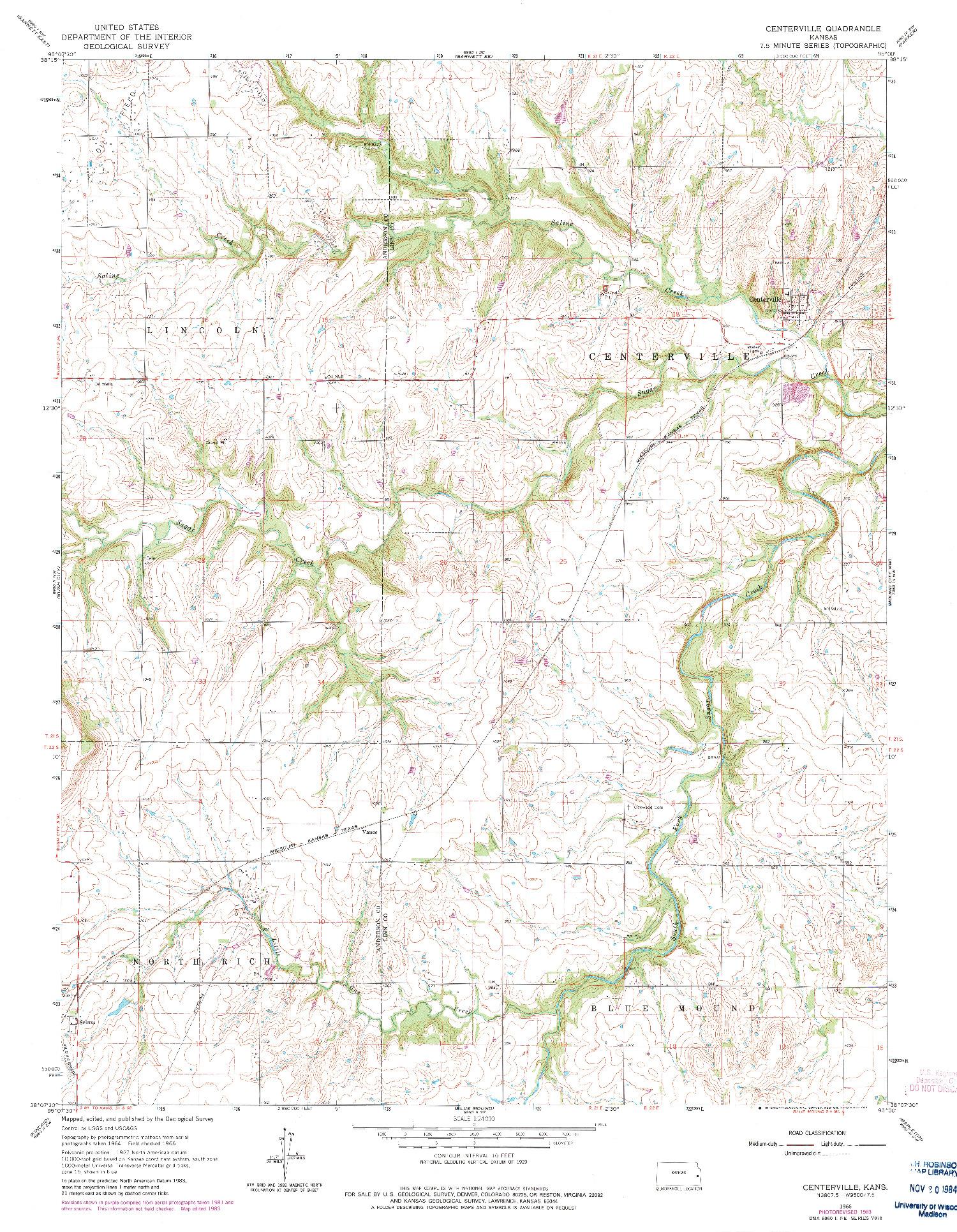 USGS 1:24000-SCALE QUADRANGLE FOR CENTERVILLE, KS 1966
