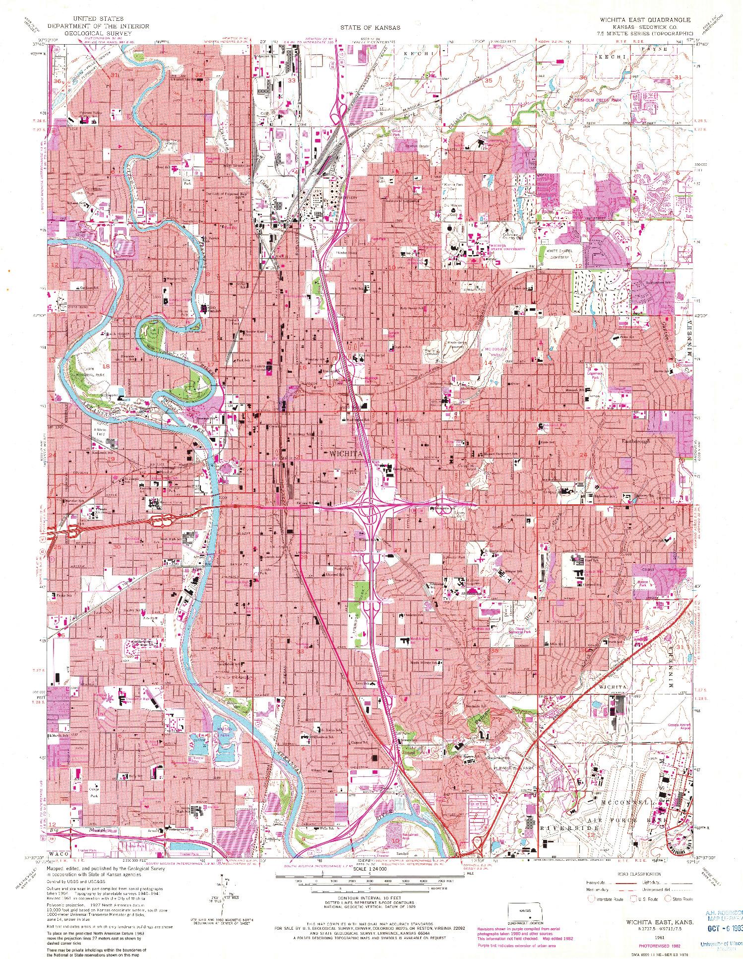 USGS 1:24000-SCALE QUADRANGLE FOR WICHITA EAST, KS 1961