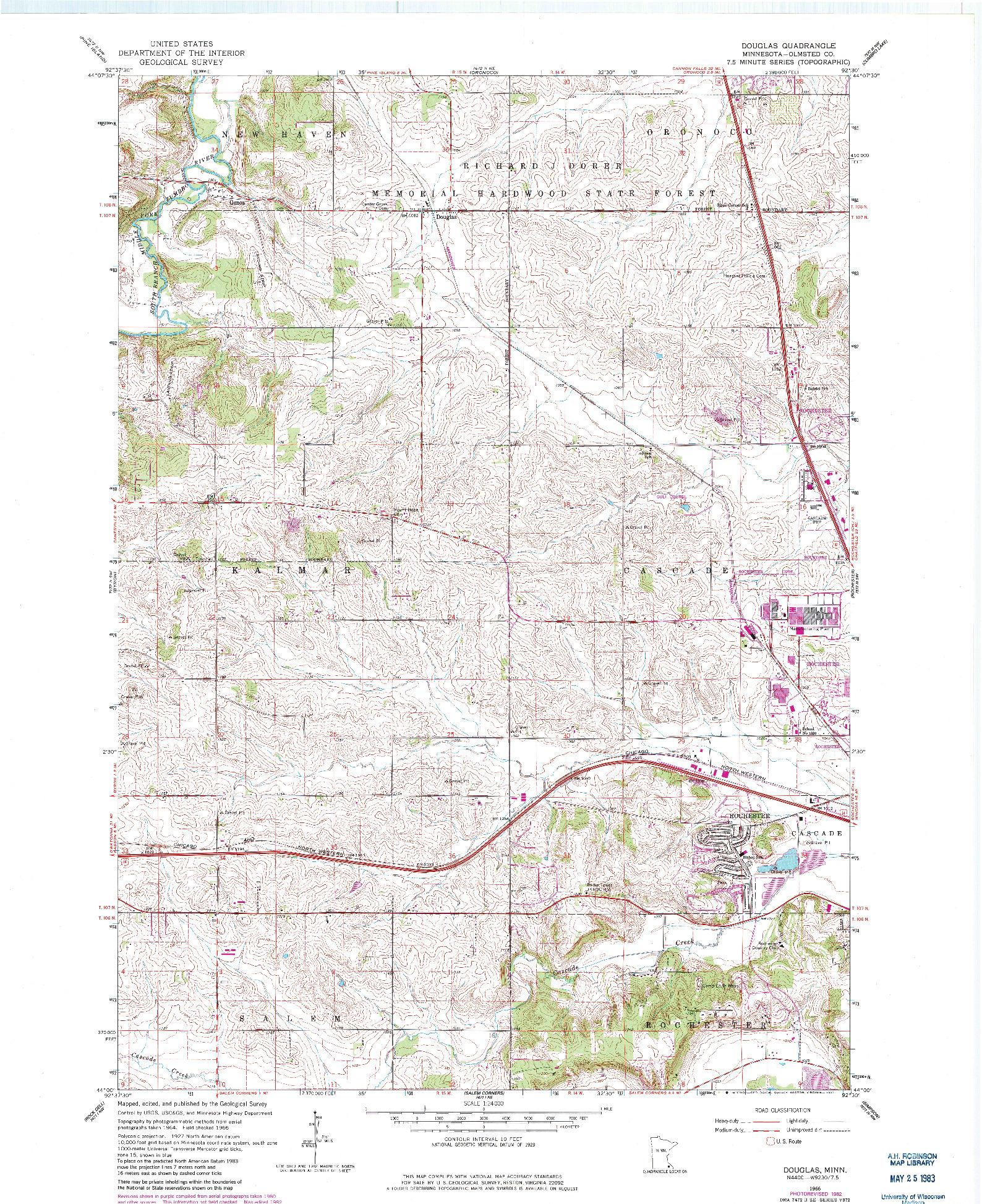 USGS 1:24000-SCALE QUADRANGLE FOR DOUGLAS, MN 1966